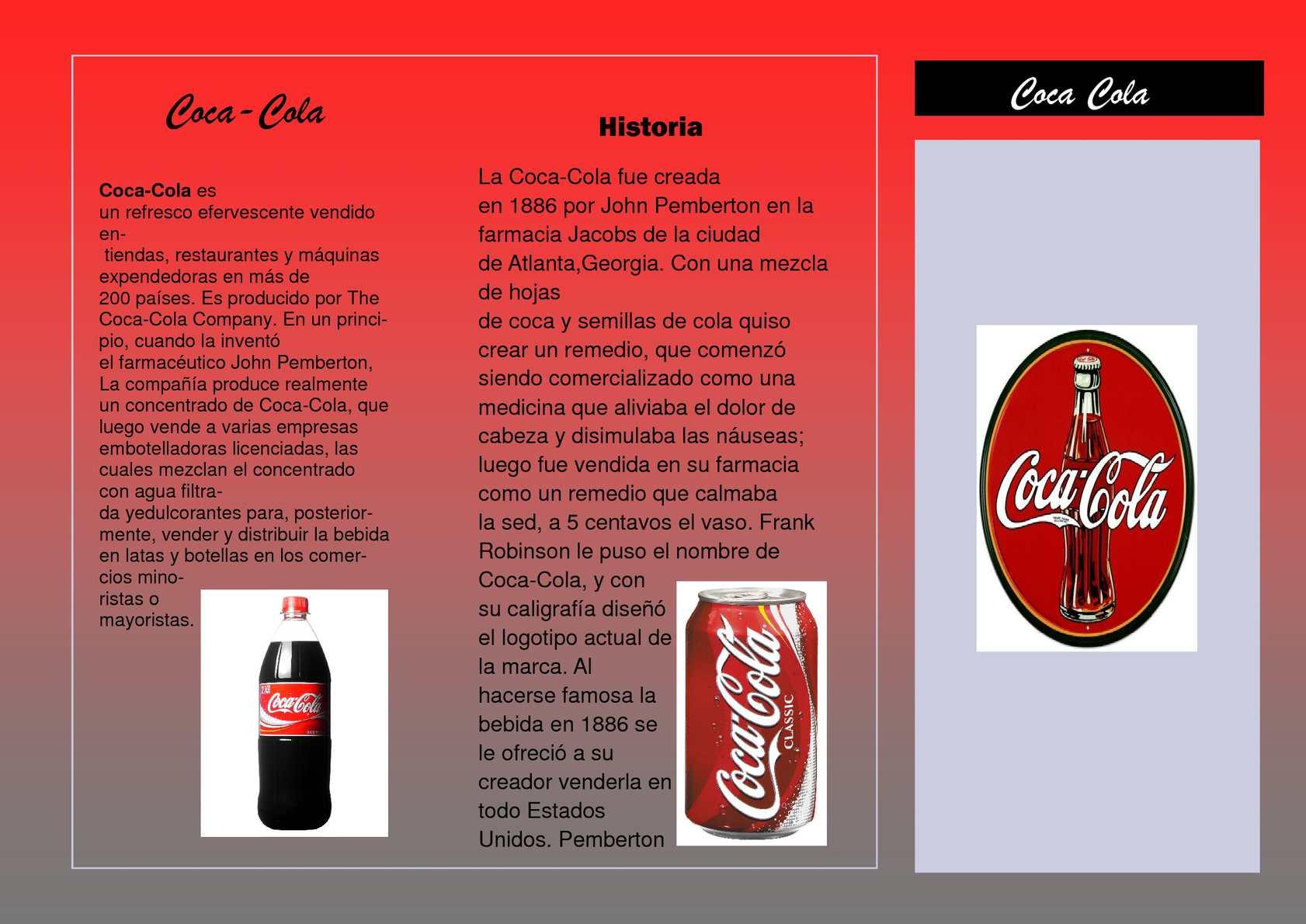 Resultado de imagen para folleto de coca cola