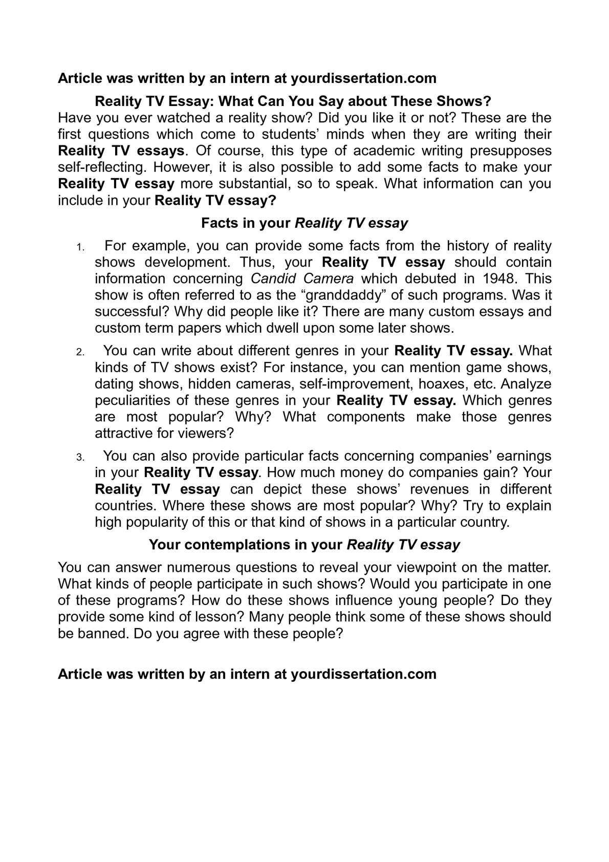 Essay on reality of reality shows