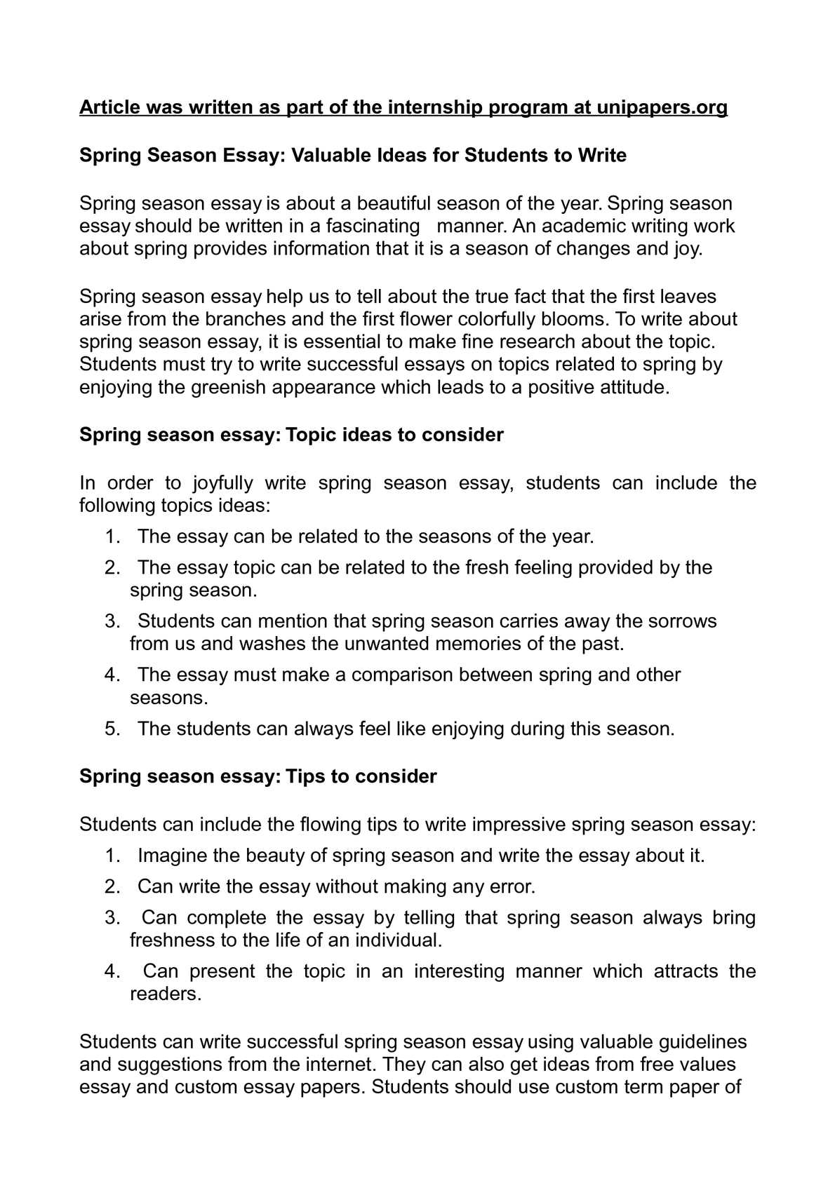 Essay on spring season