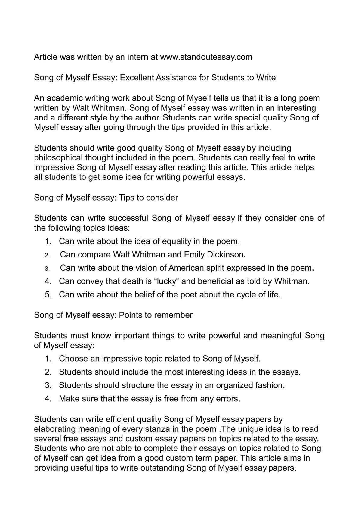 song of myself essay excellent assistance for students  song of myself essay excellent assistance for students to write