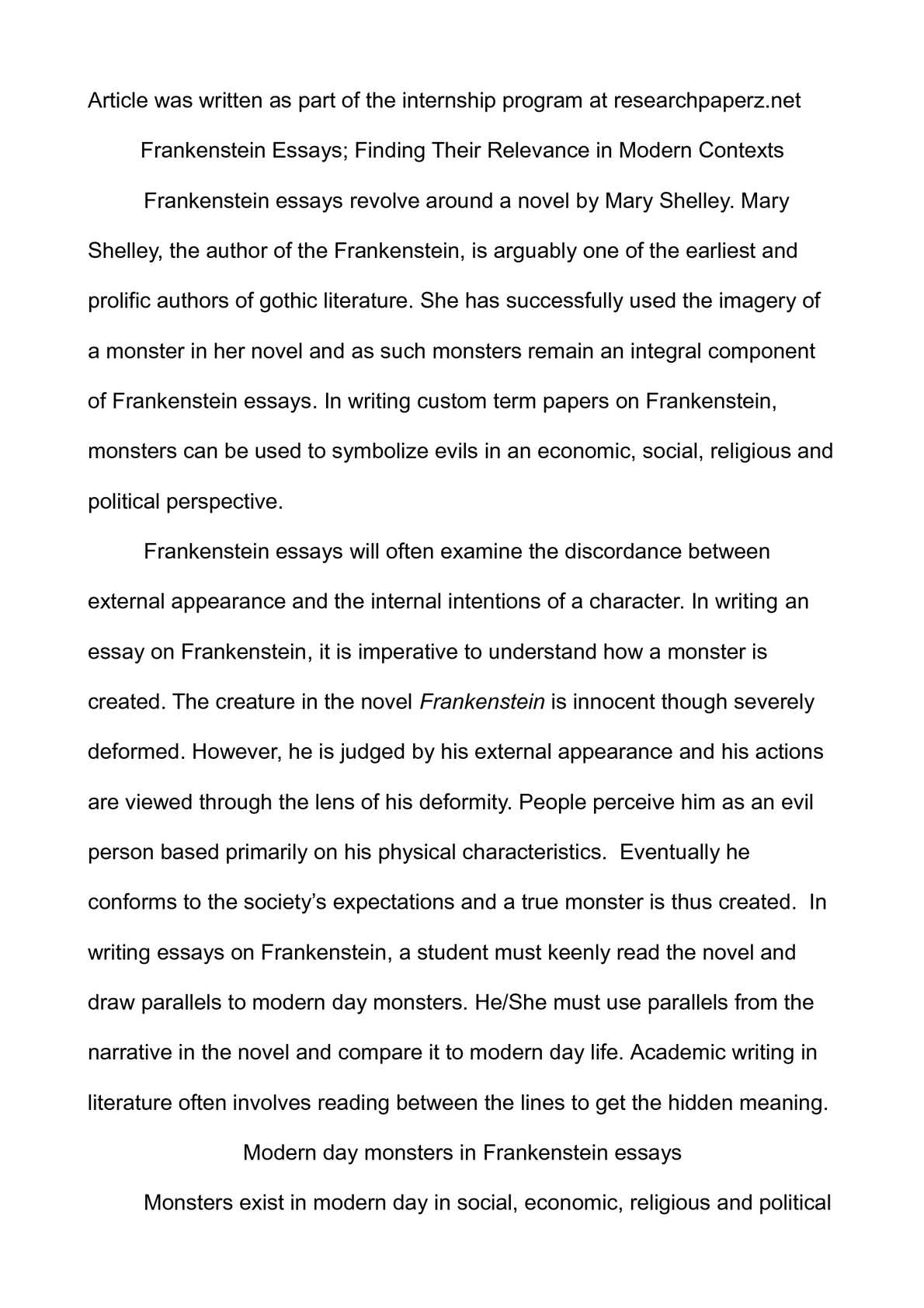 Intro to frankenstein essay professional report ghostwriting services for mba