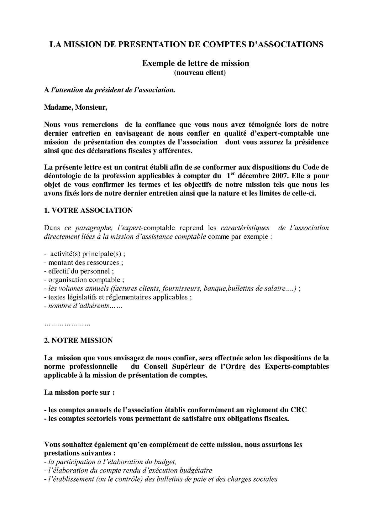 Lettre De Mission Expert Comptable Exemple - Exemple de Groupes