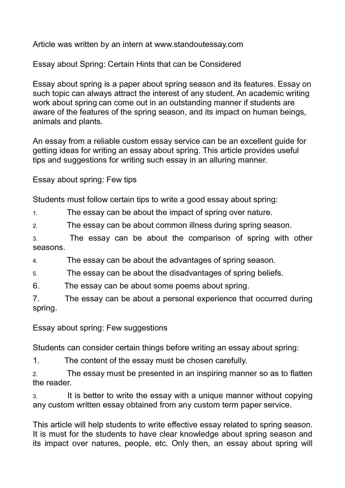 Calaméo - Essay about Spring: Certain Hints that can be Considered