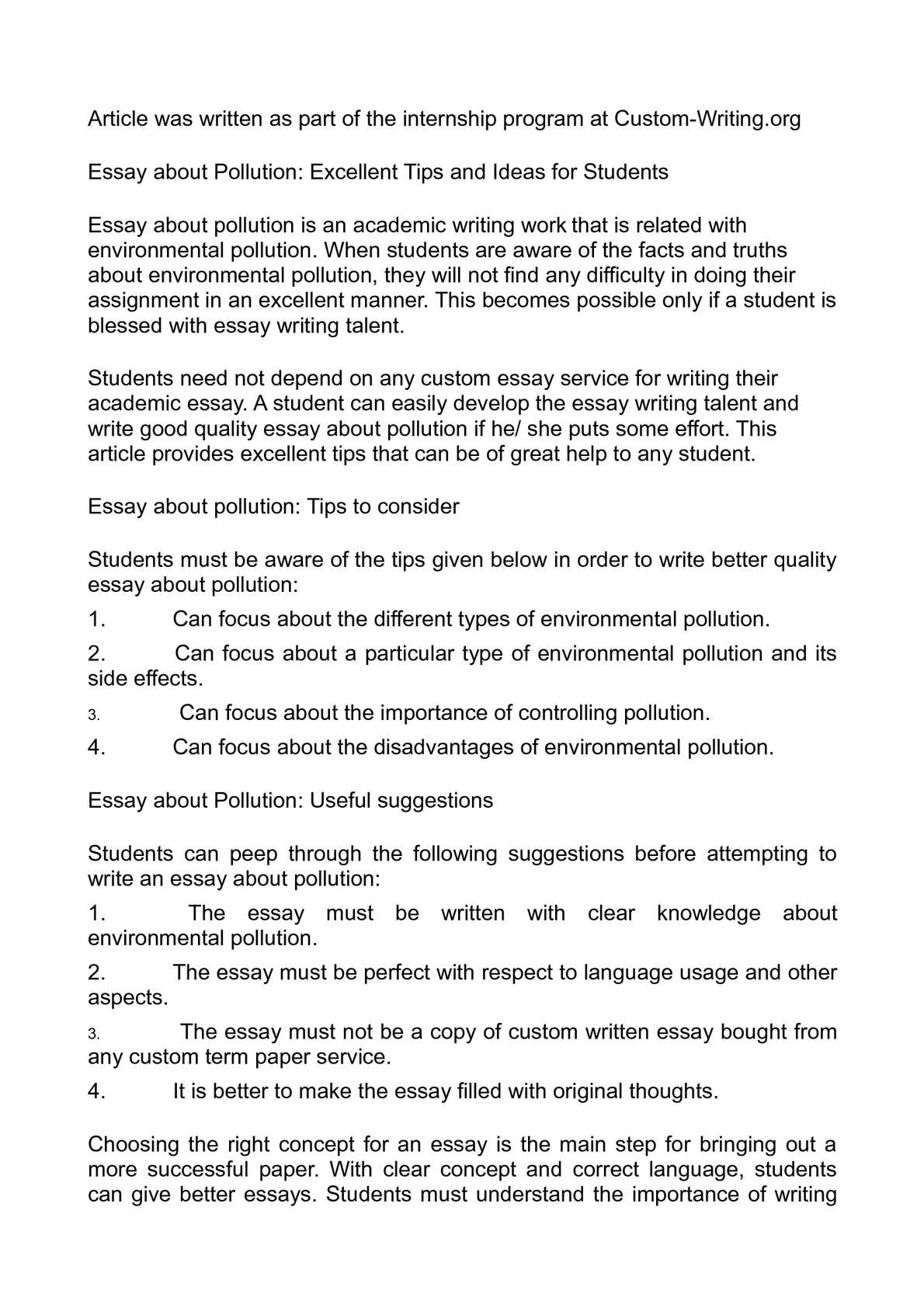 environmental pollution essay in english 150 words