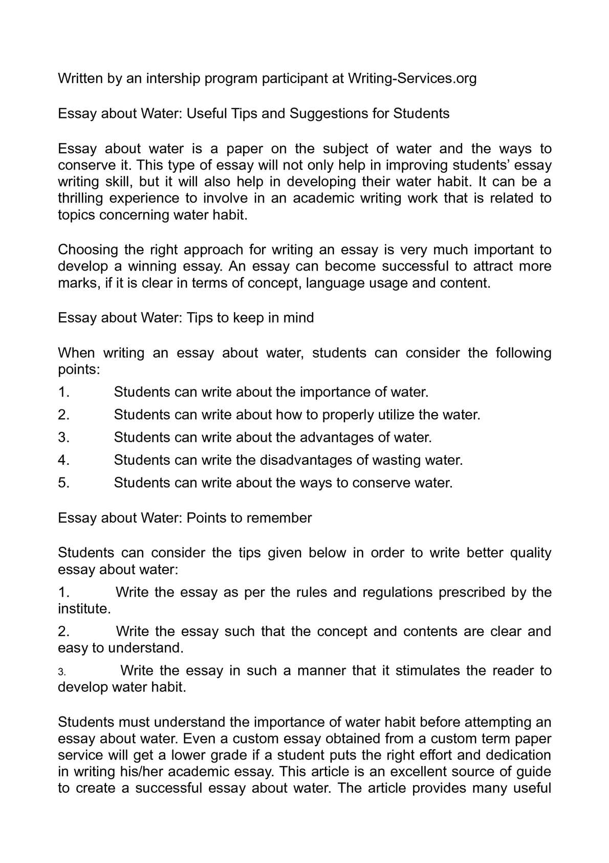 An essay about water