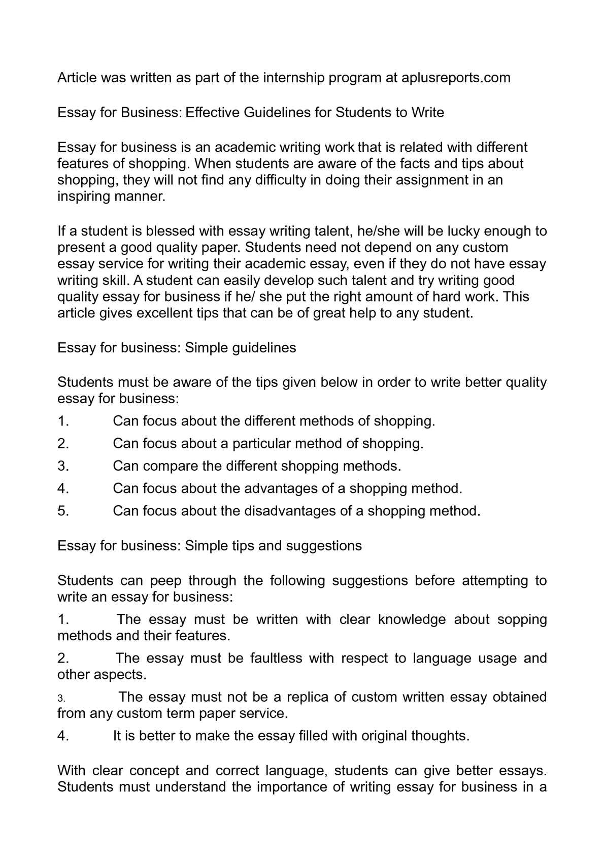 essay about business career