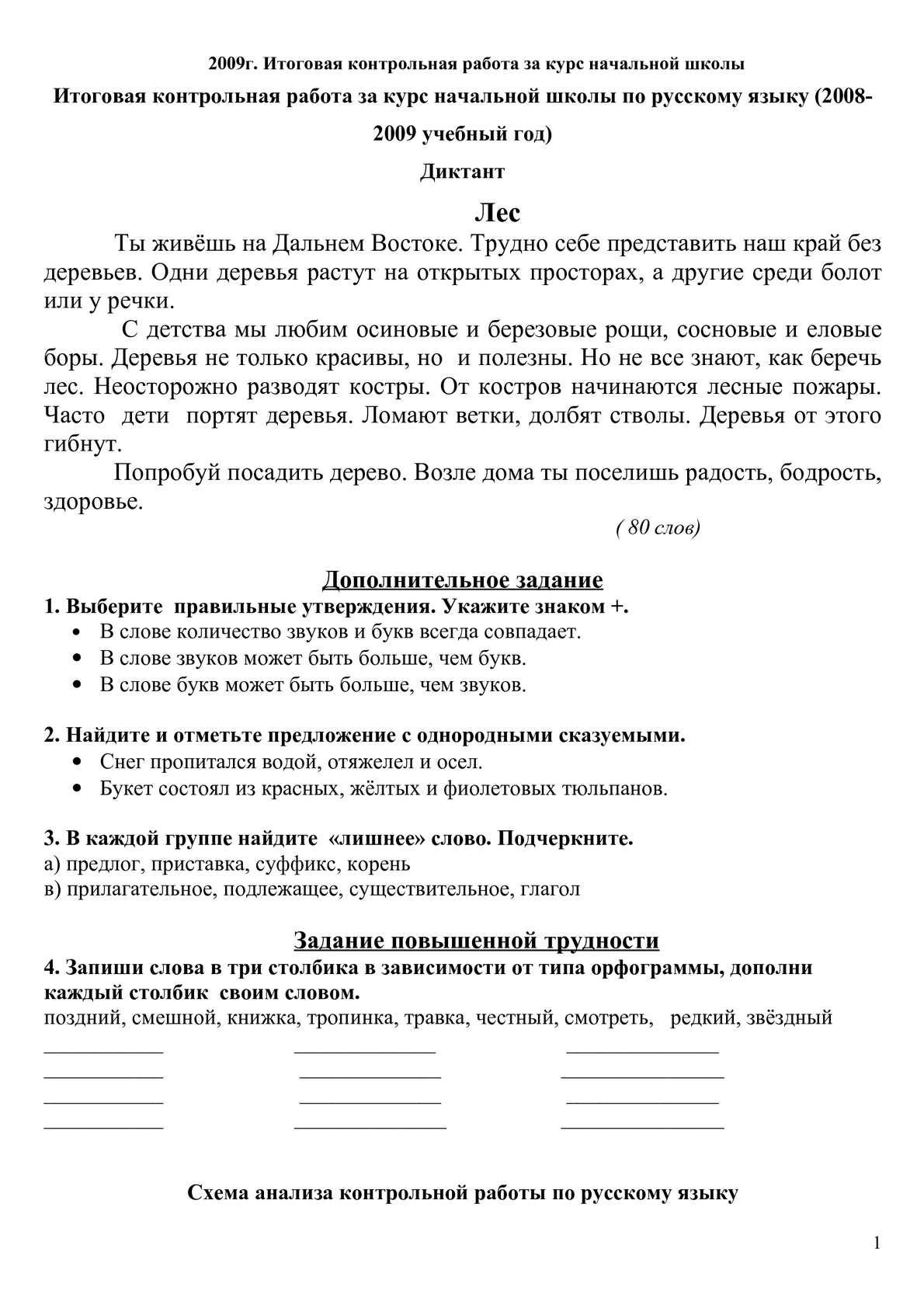 Словесный анализ контрольной работы по русскому языку 9923