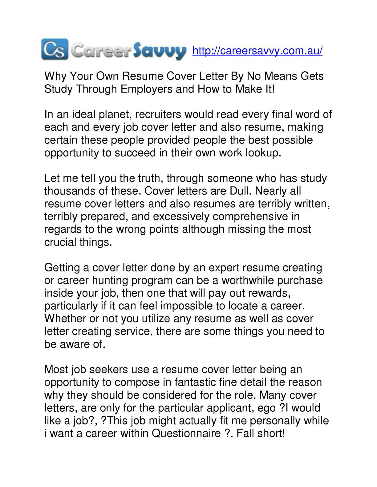 Calaméo - Why your own resume cover letter by no means gets ...