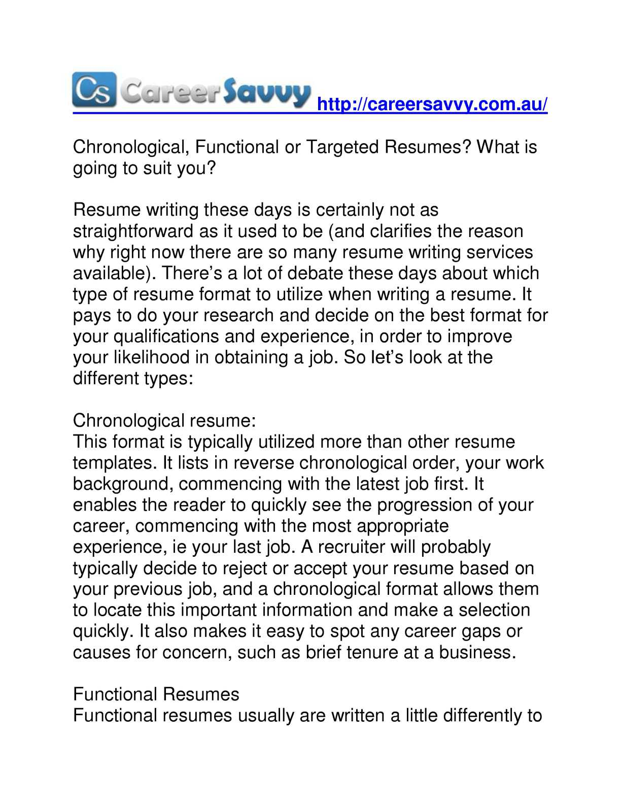 Calameo Chronological Functional Or Targeted Resumes What Is Going To Suit You