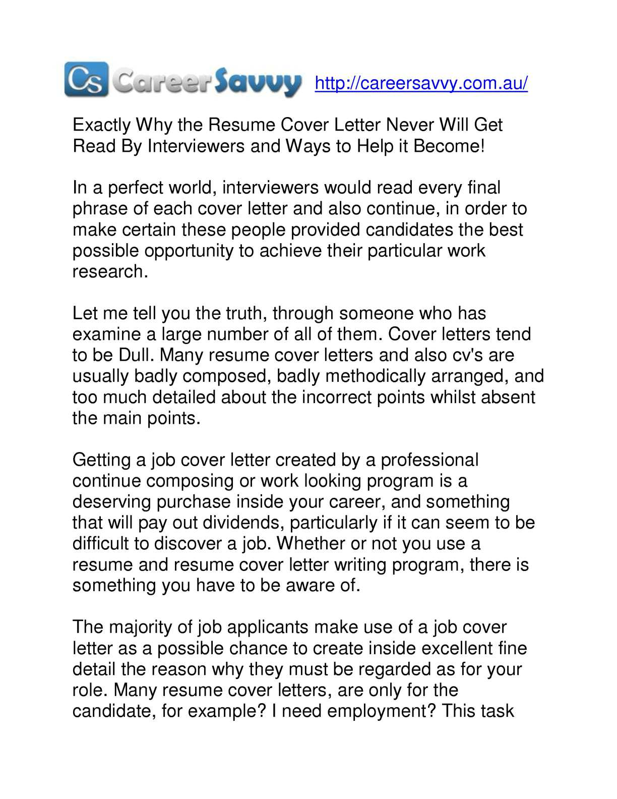 Calaméo - Exactly why the resume cover letter never will get ...