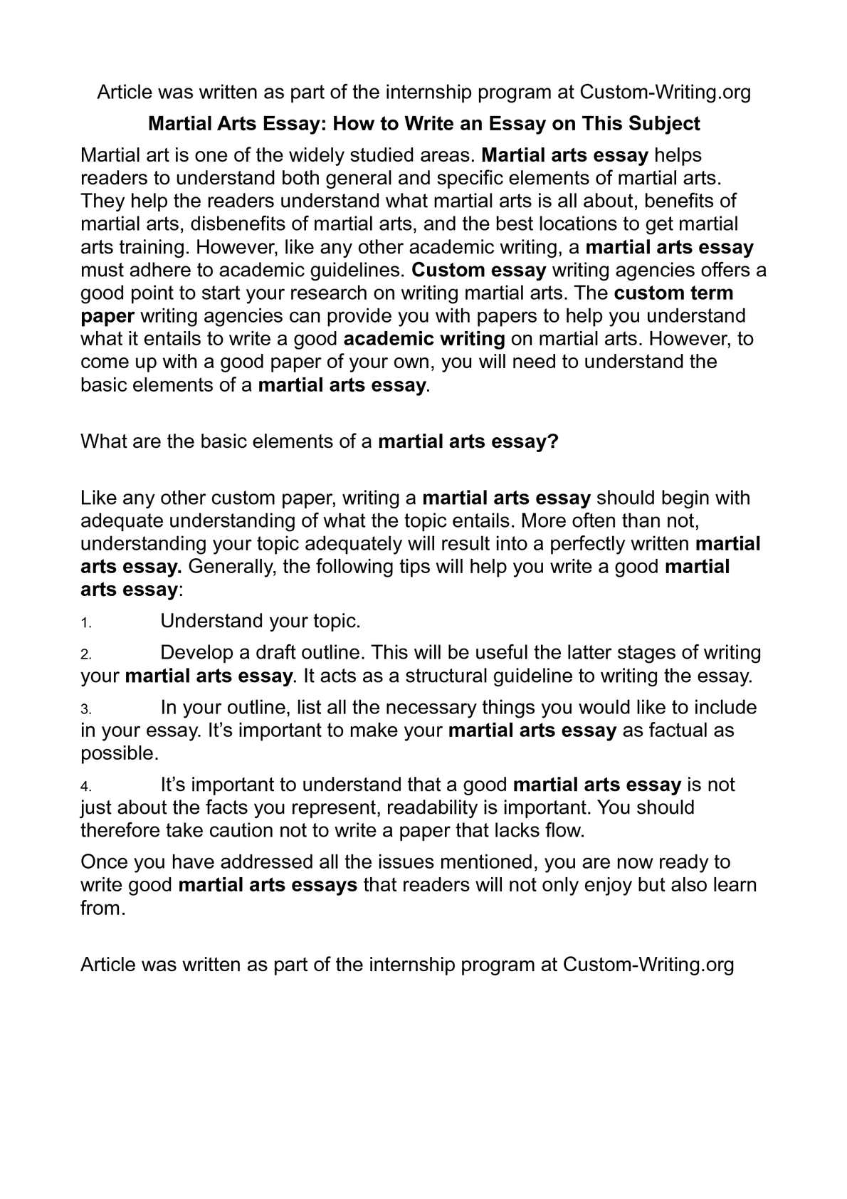 calam eacute o martial arts essay how to write an essay on this subject