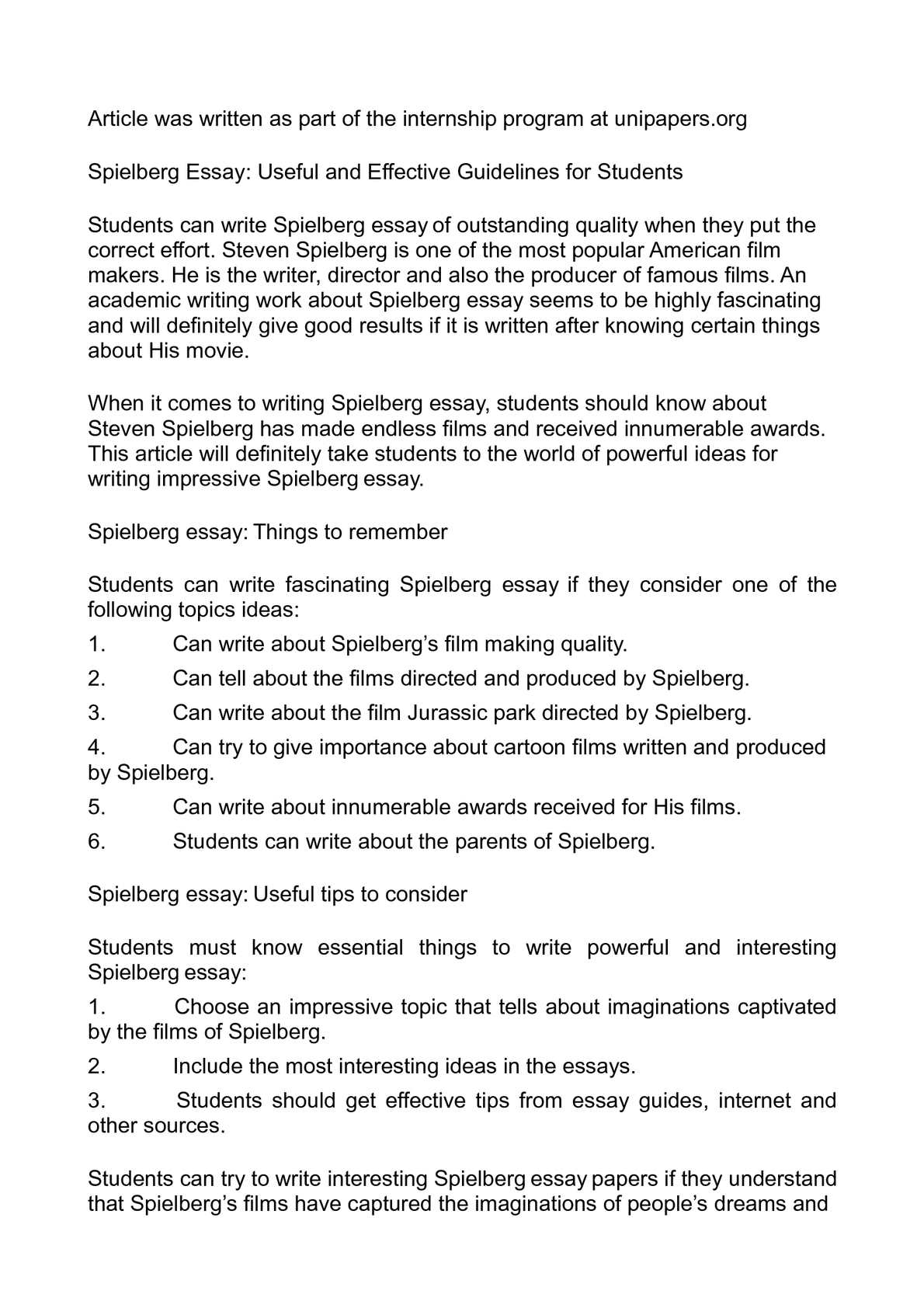 calamo   spielberg essay useful and effective guidelines for students