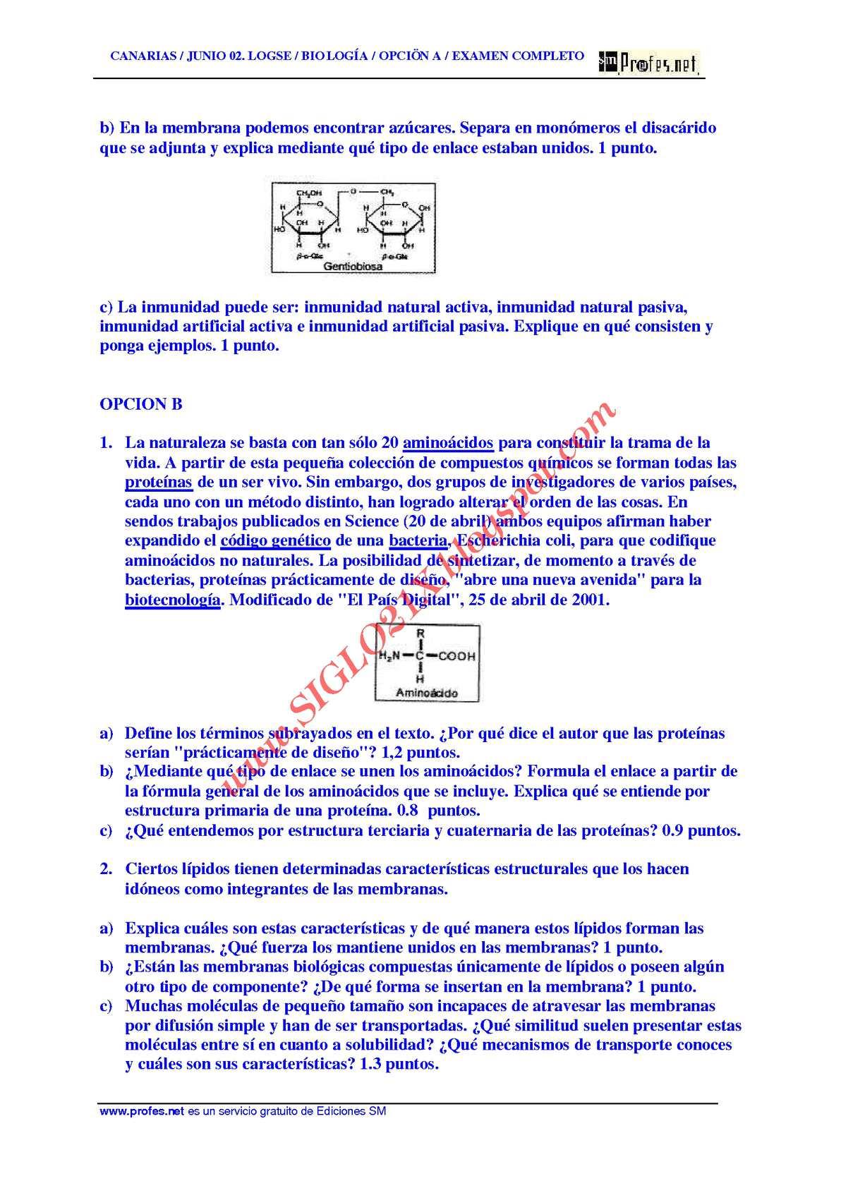 Biologia Selectividad Examen Resuelto 2