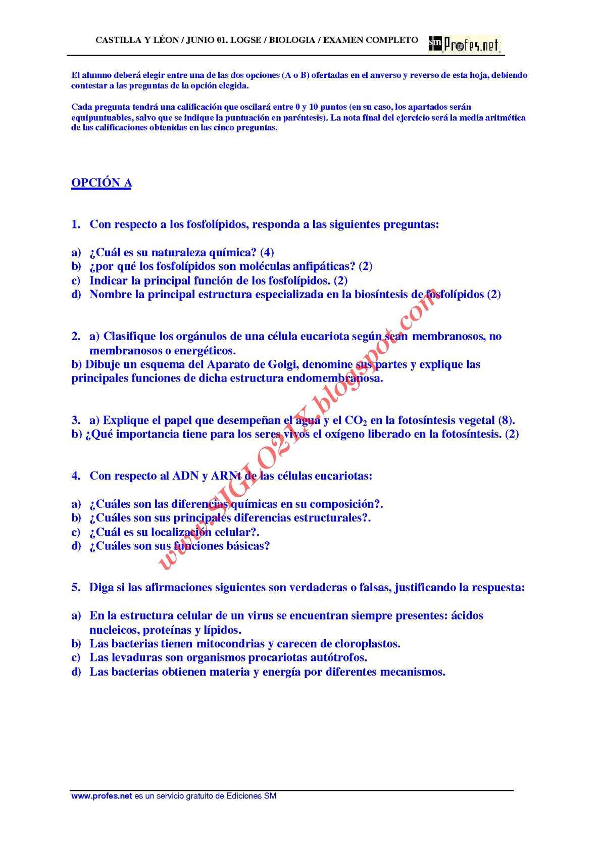 Calaméo Biologia Selectividad Examen 6 Resuelto Castilla Y