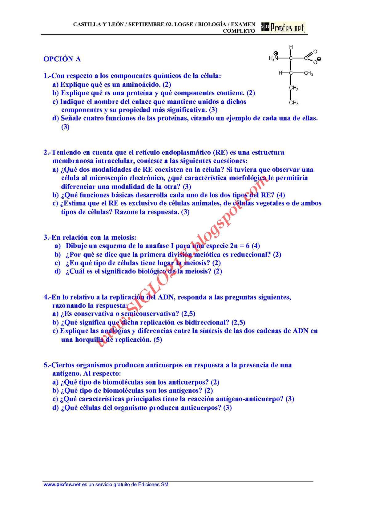 Calaméo Biologia Selectividad Examen 9 Resuelto Castilla Y
