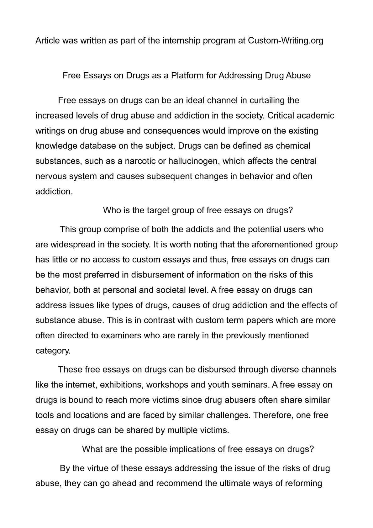 Essay of drugs