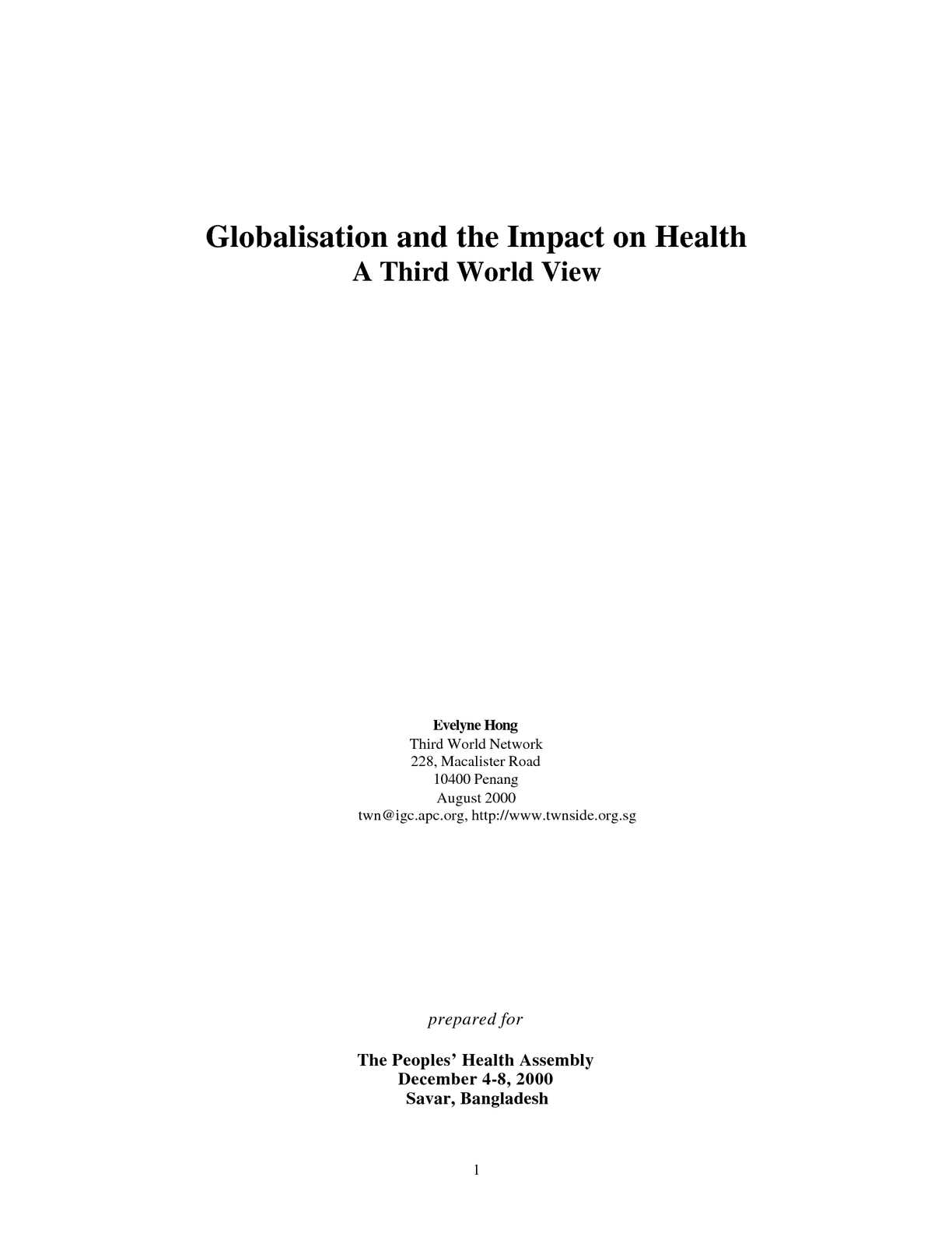 Calaméo - Globalisation and the Impact on Health
