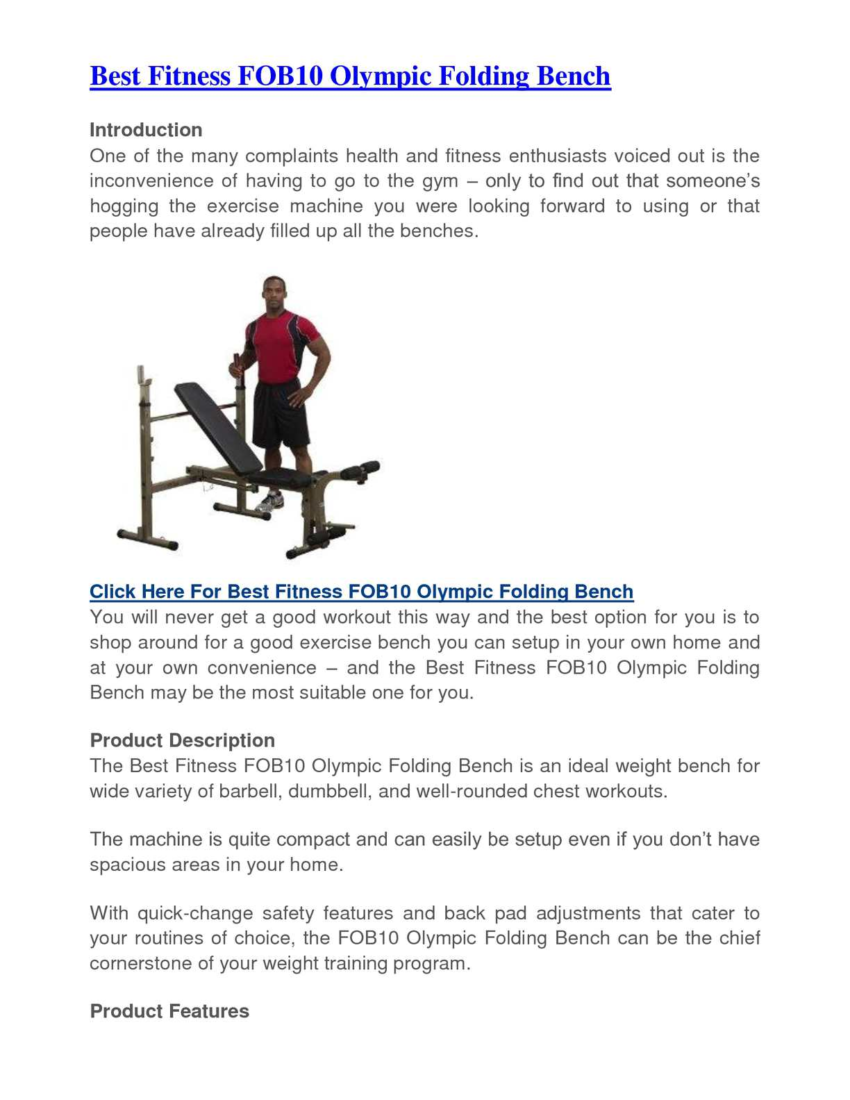 Calameo Best Fitness Fob10 Olympic Folding Bench