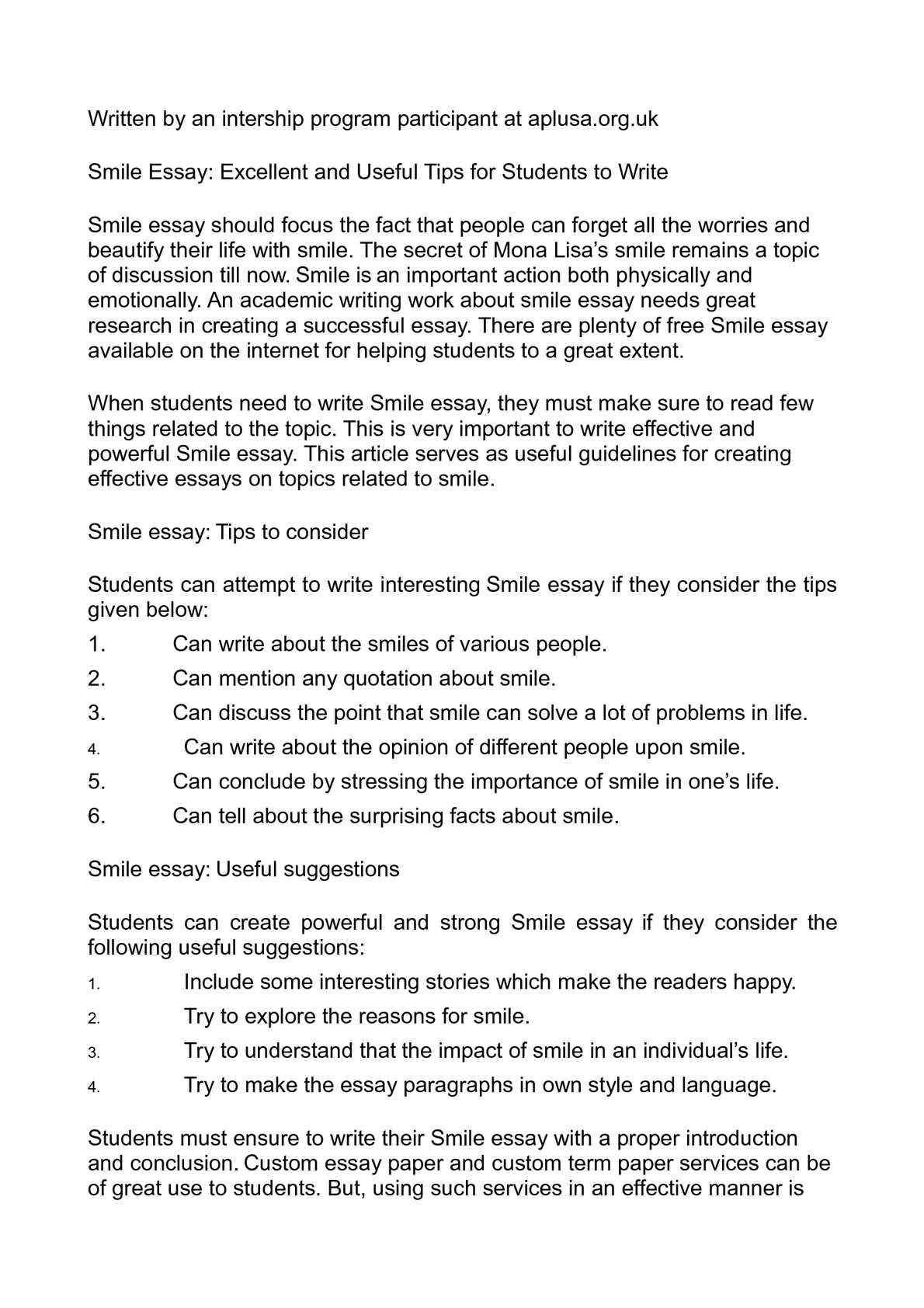 essay topics list