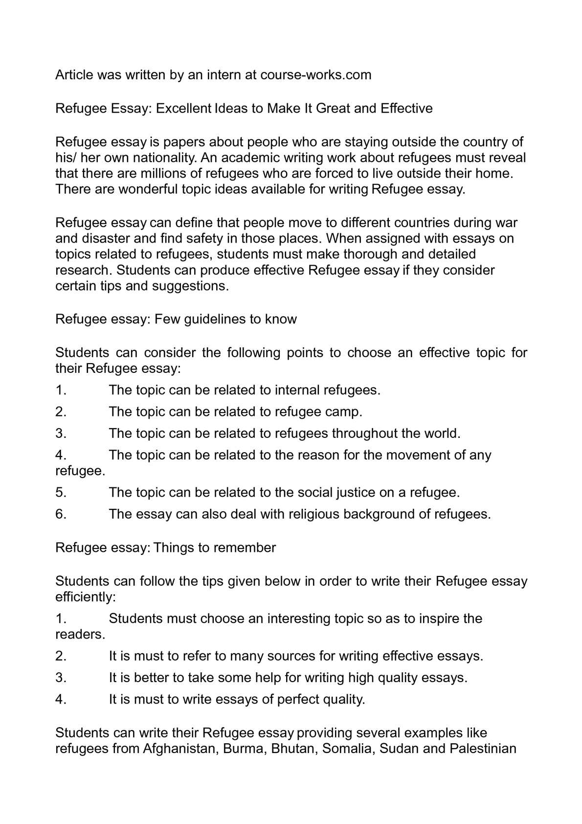 Write an essay about refugees