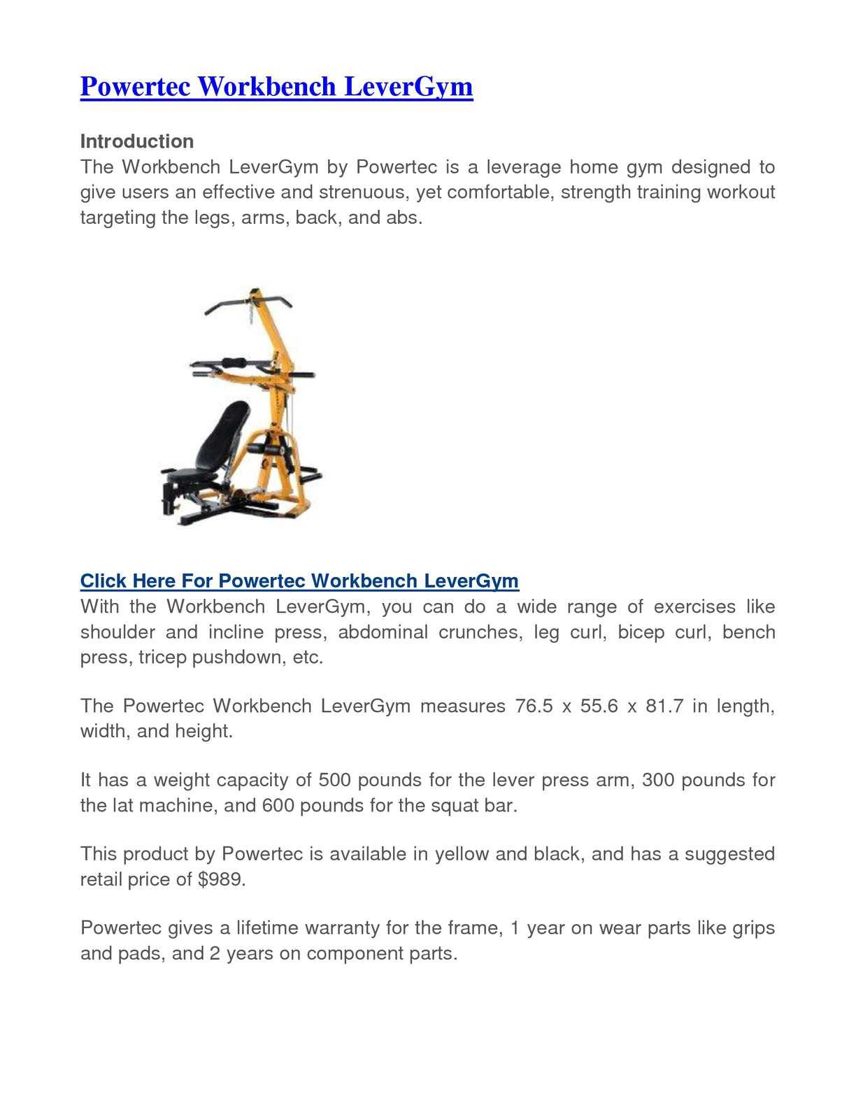 Calam 233 O Powertec Workbench Levergym