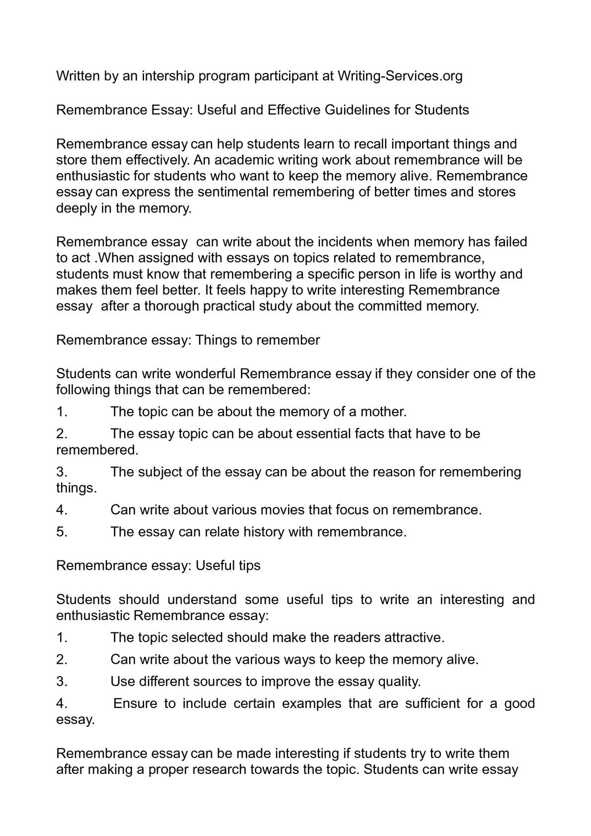 Calaméo - Remembrance Essay: Useful and Effective Guidelines for