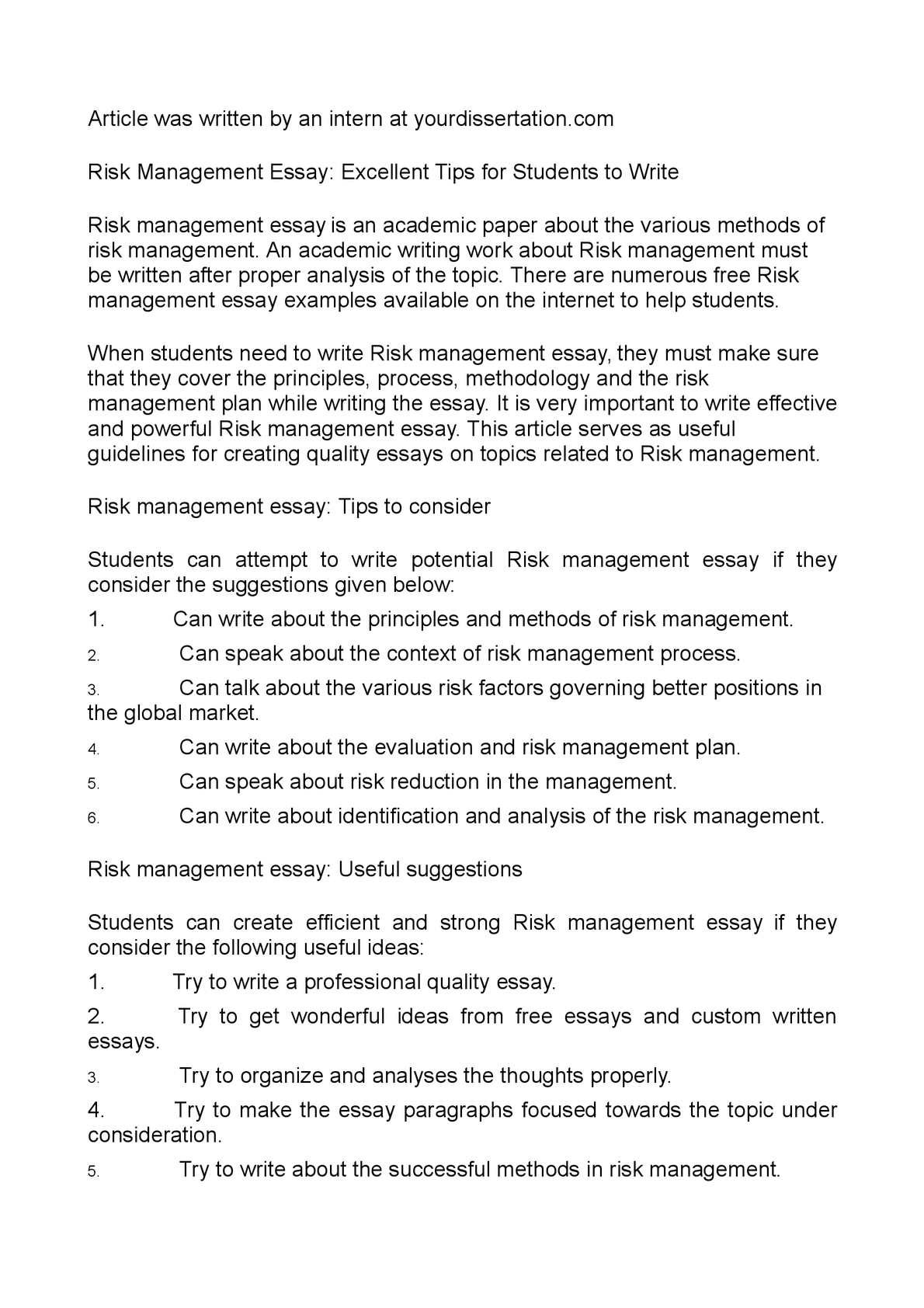 an essay on risk management