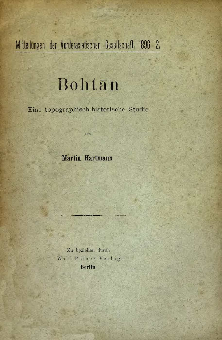 Bohtan - eine topographisch-historische studie I