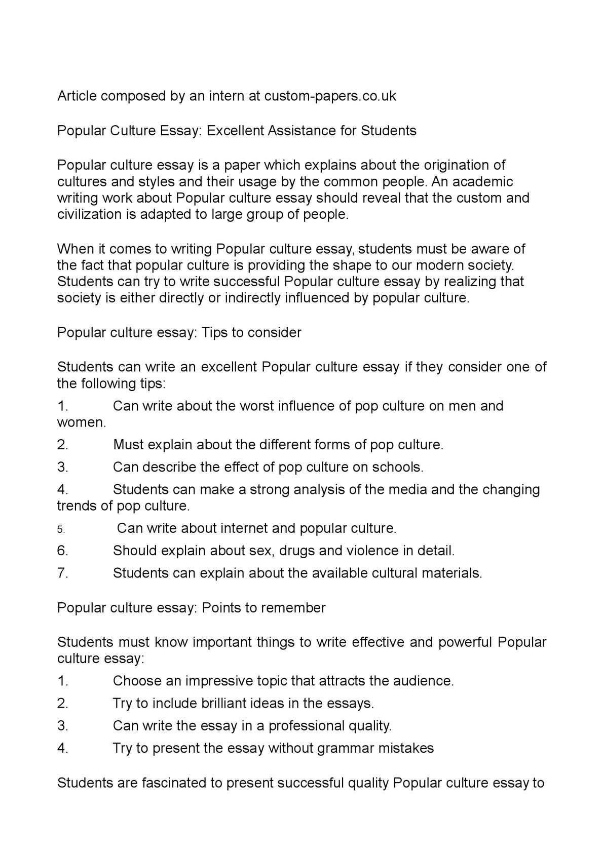 calamo   popular culture essay excellent assistance for students popular culture essay excellent assistance for students