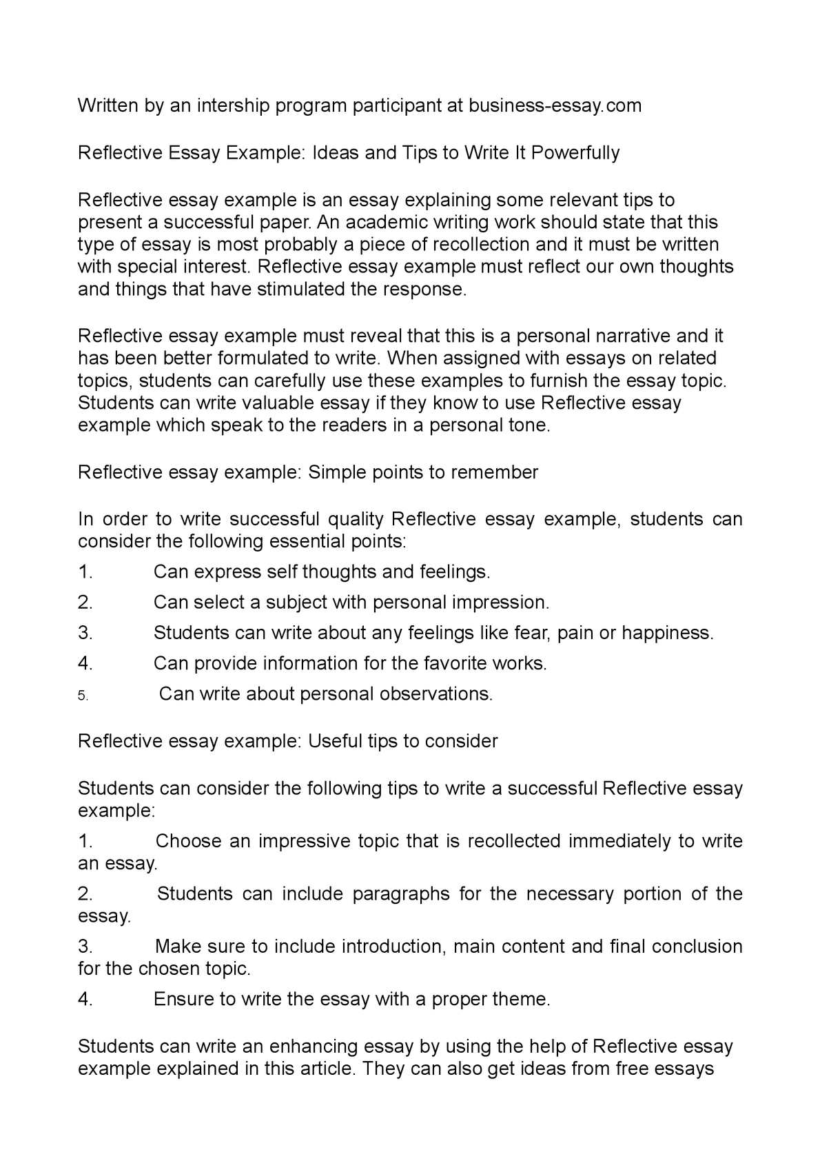 Calamo  Reflective Essay Example Ideas And Tips To  International Business Essays Management Essay Writing Calamo  Reflective Essay Example Ideas And Tips To  Essay In English Language also Essay On The Yellow Wallpaper