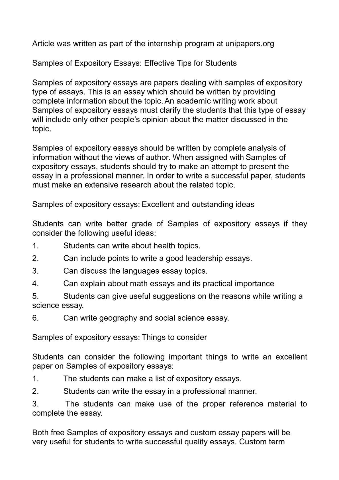 calamo   samples of expository essays effective tips for students