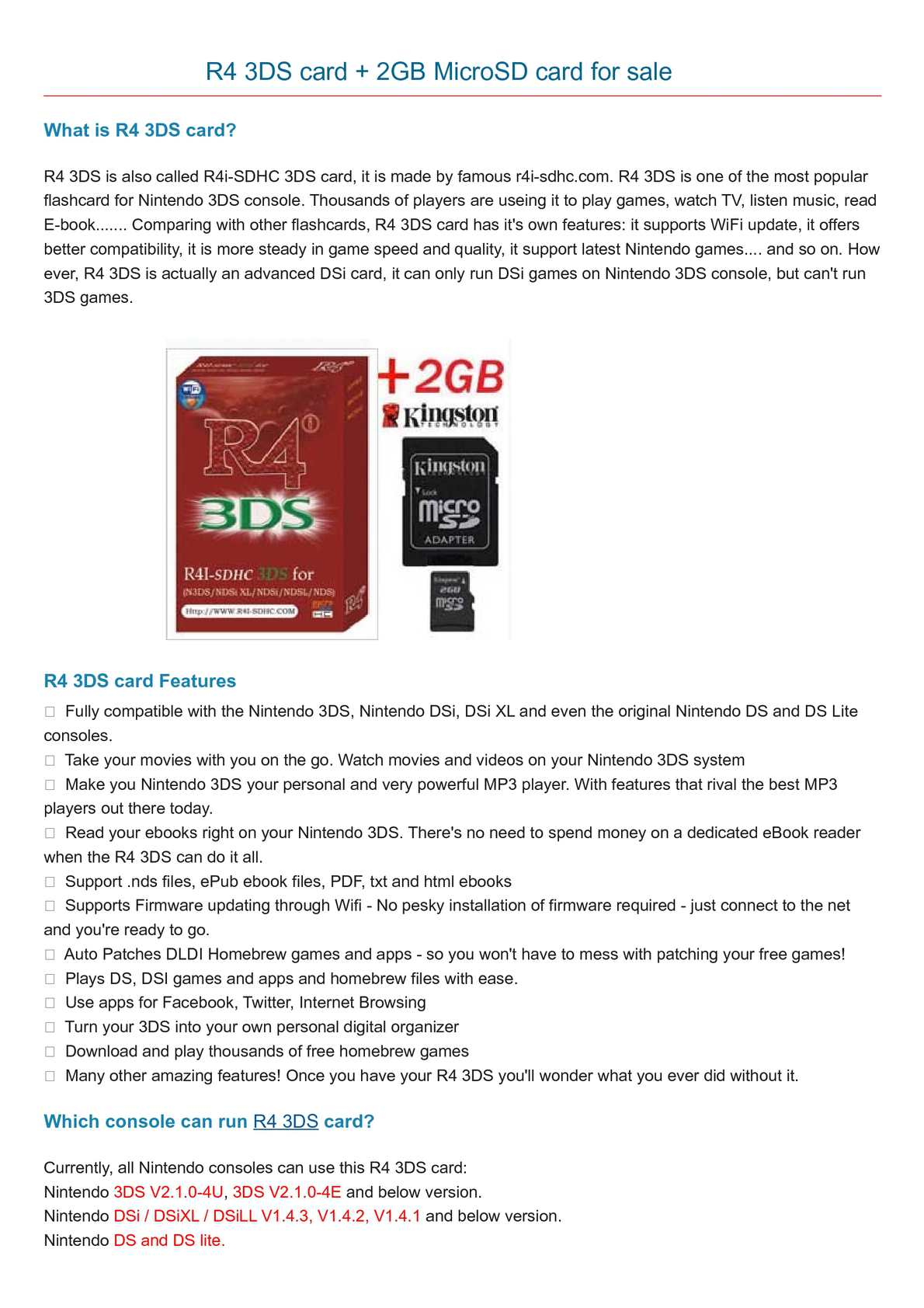 Calaméo - R4 3DS card plus 2GB Kingston memory for sale