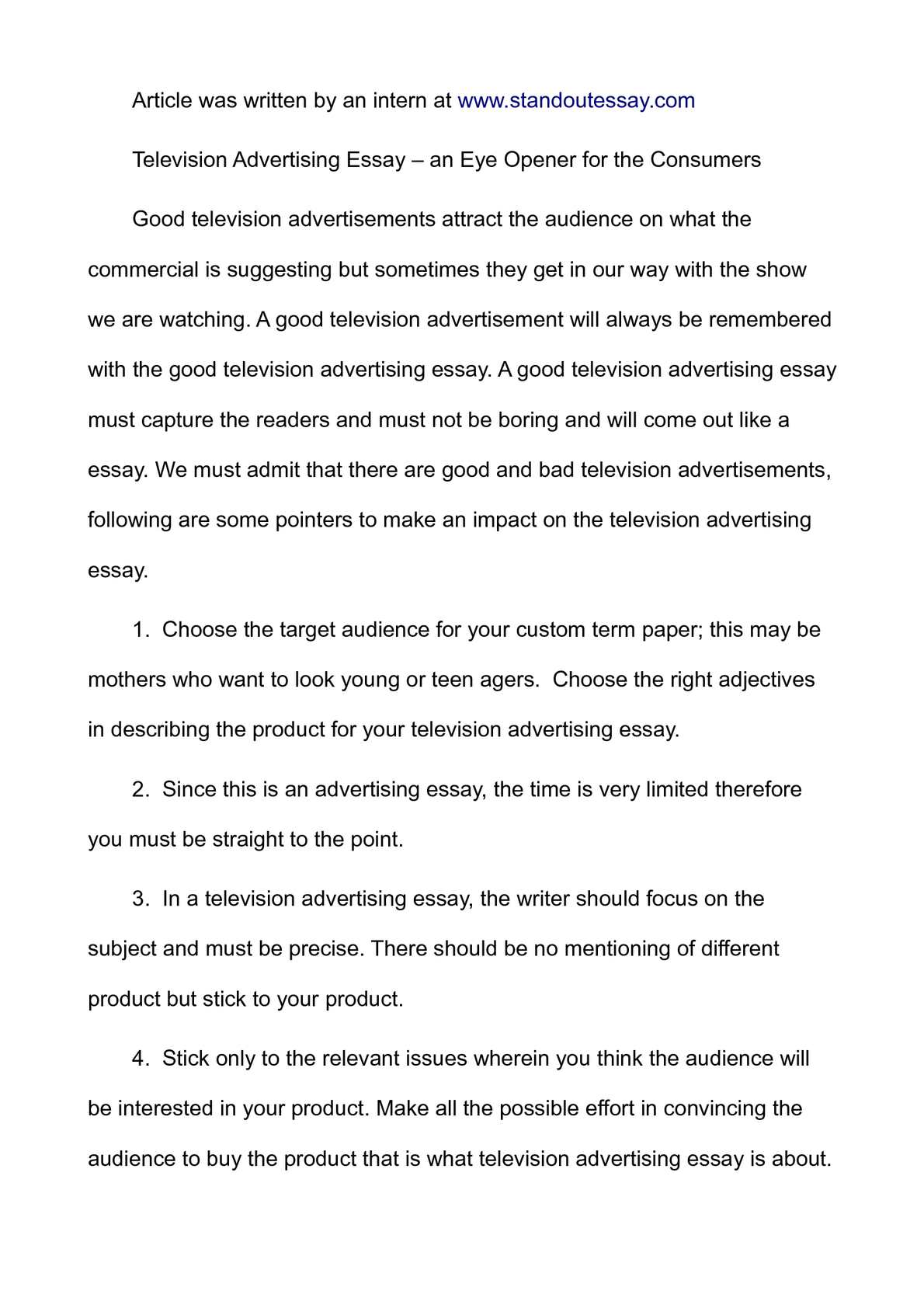 essay on advertisement