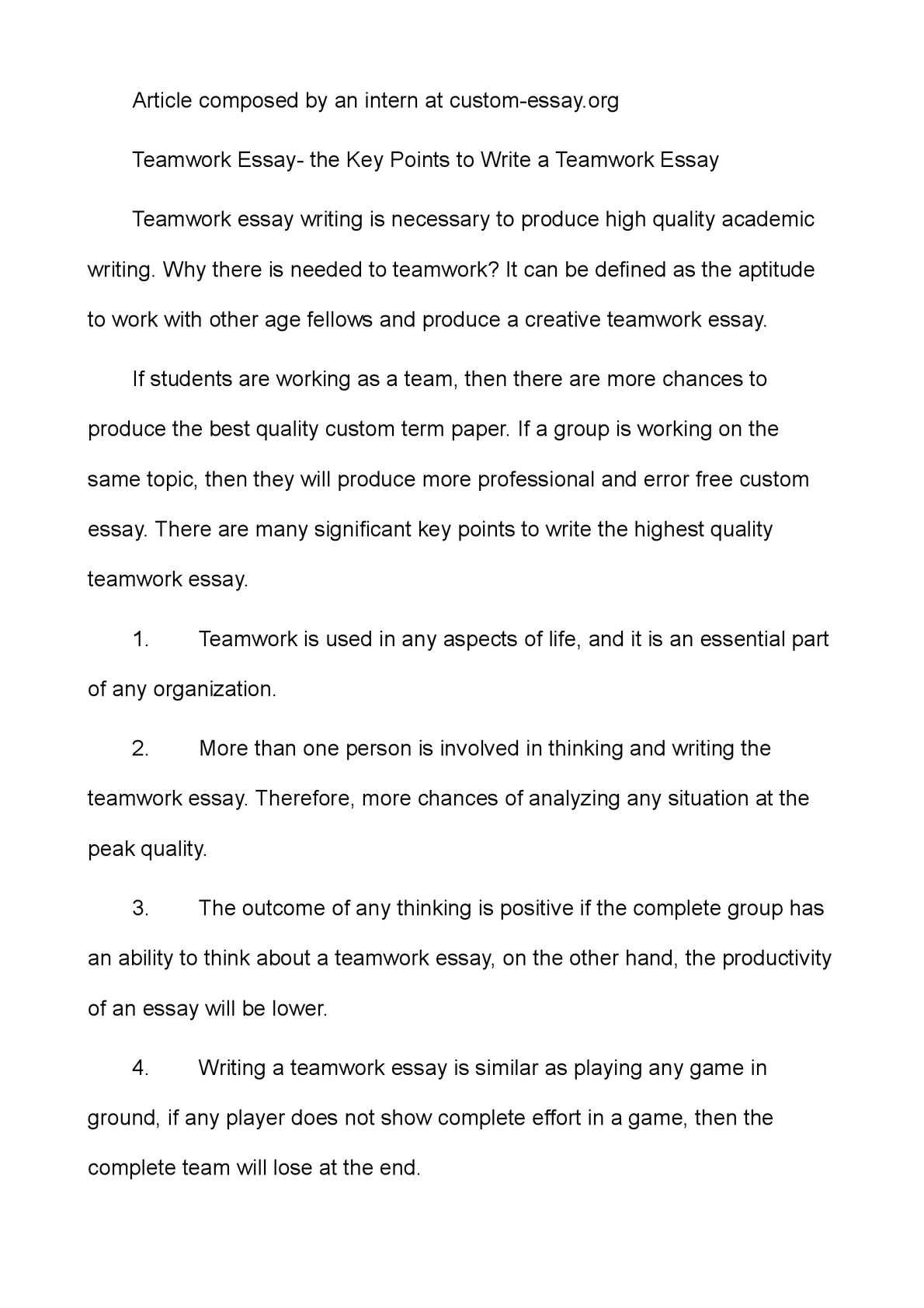 The key points essay