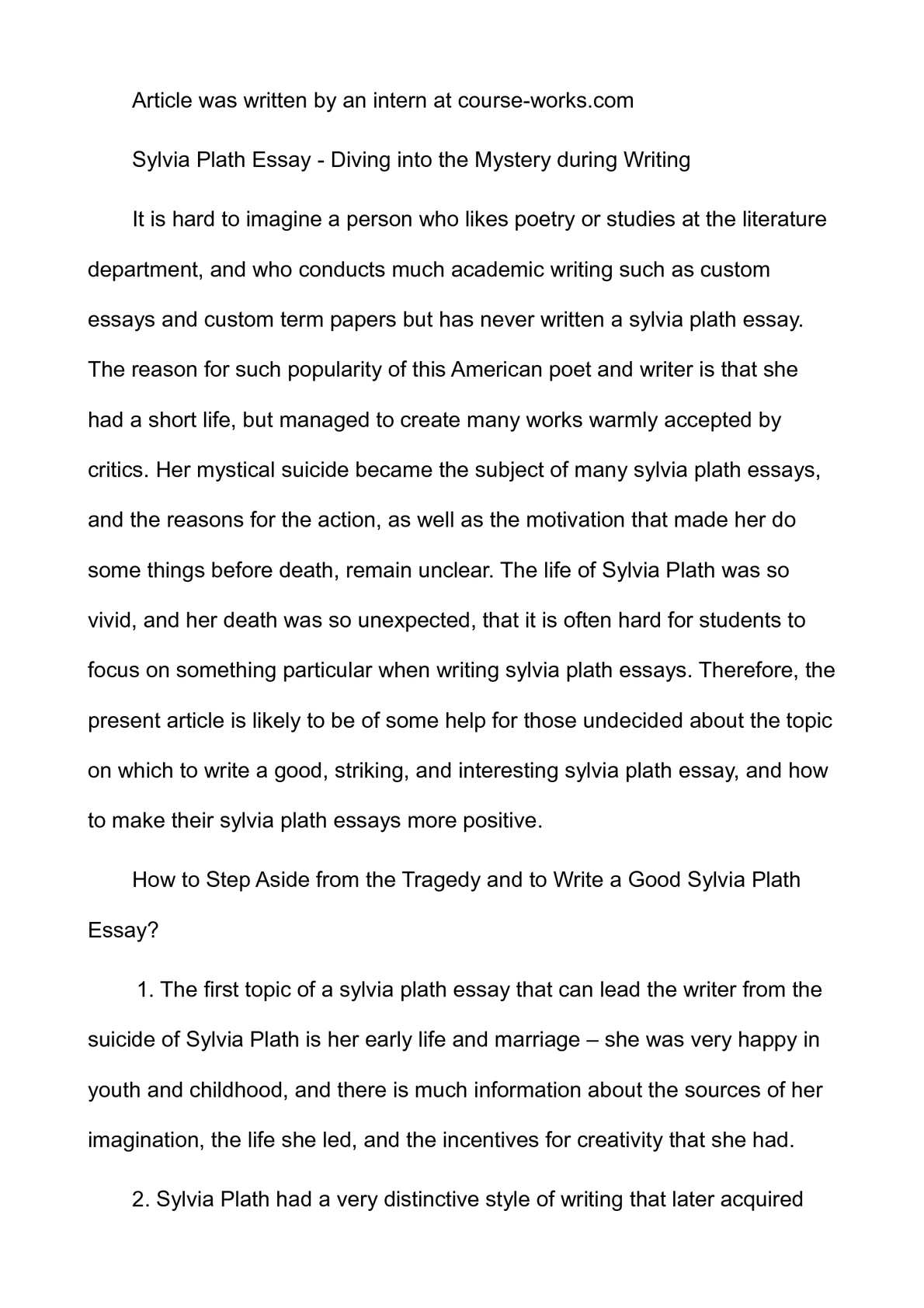 My Favorite Essay  Intro Paragraphs For Essays also Research Essay Samples Calamo  Sylvia Plath Essay  Diving Into The Mystery  Joy Luck Club Essay