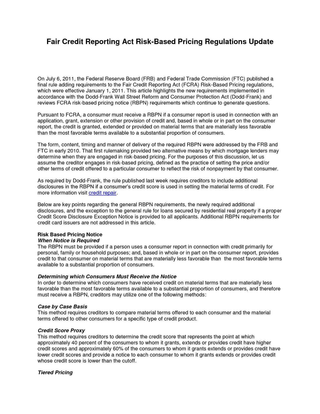 Loans For Fair Credit >> Calameo Fair Credit Reporting Risk Based Pricing