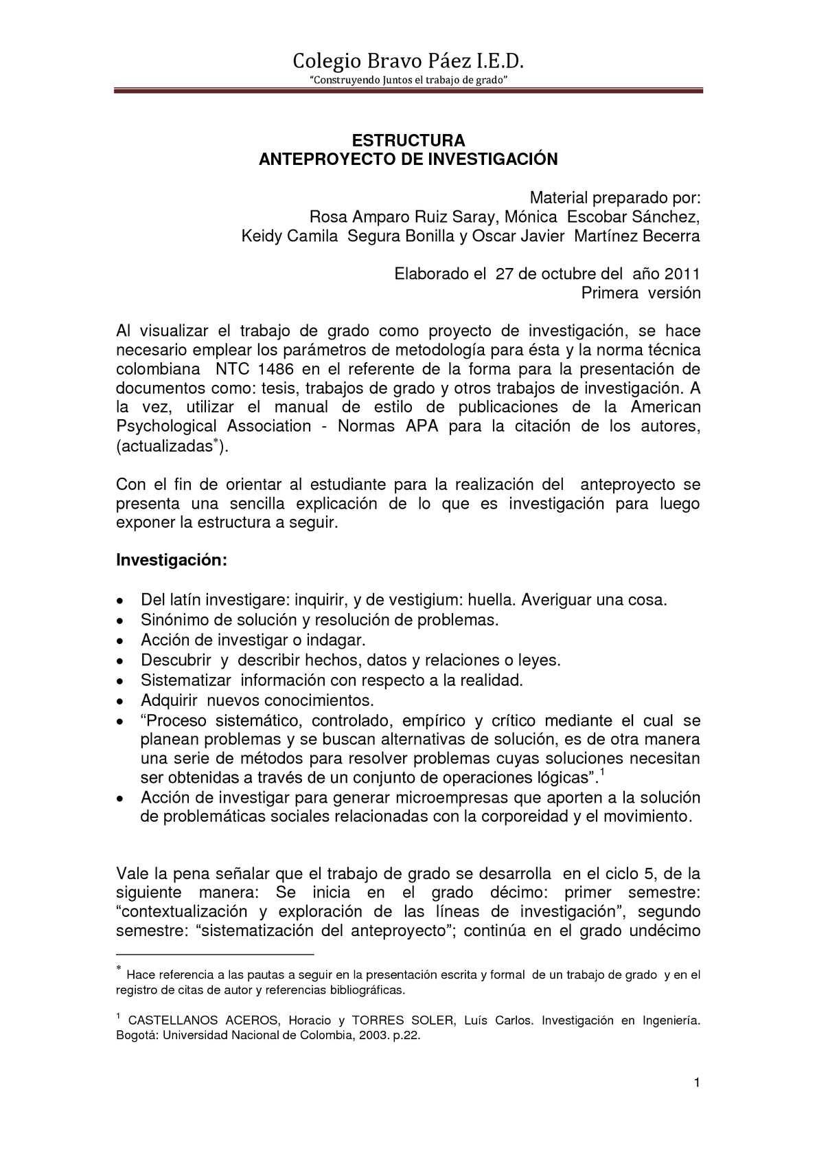 Calaméo Estructura Del Anteproyecto Colegio Bravo Páez I E D