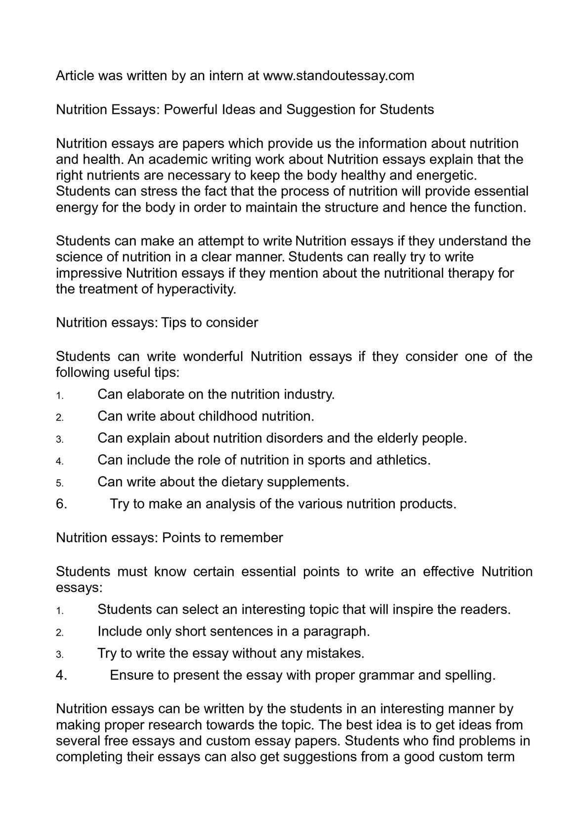 Calaméo - Nutrition Essays: Powerful Ideas and Suggestion