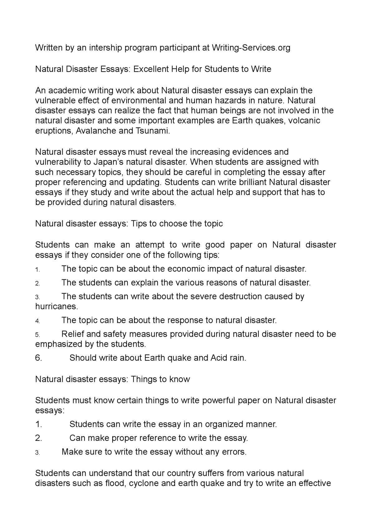 Application Essay Writing Natural Disasters