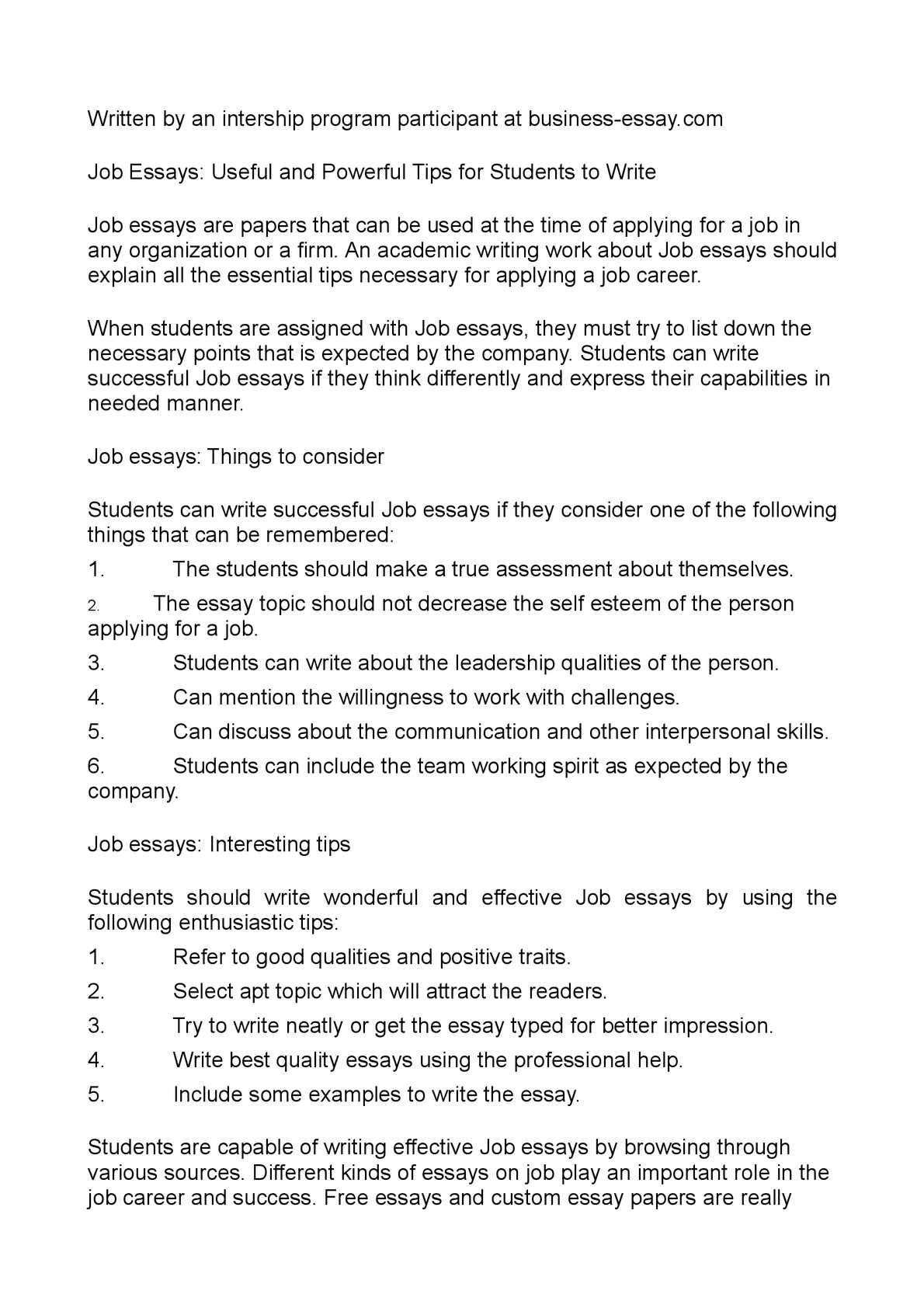 job essay in english