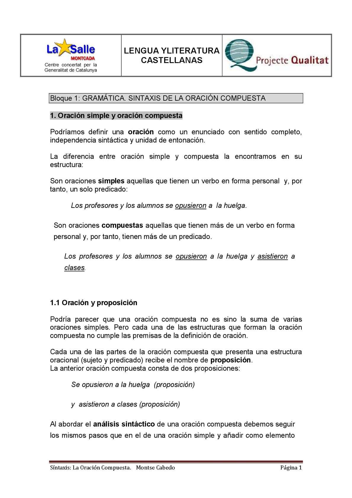 Calaméo Sintaxis Oración Compuesta