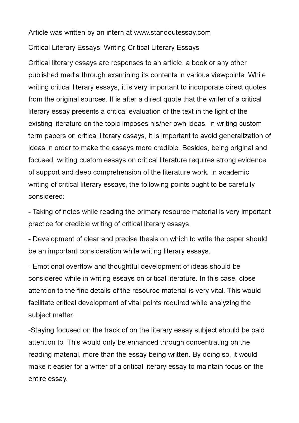 writing literature essays