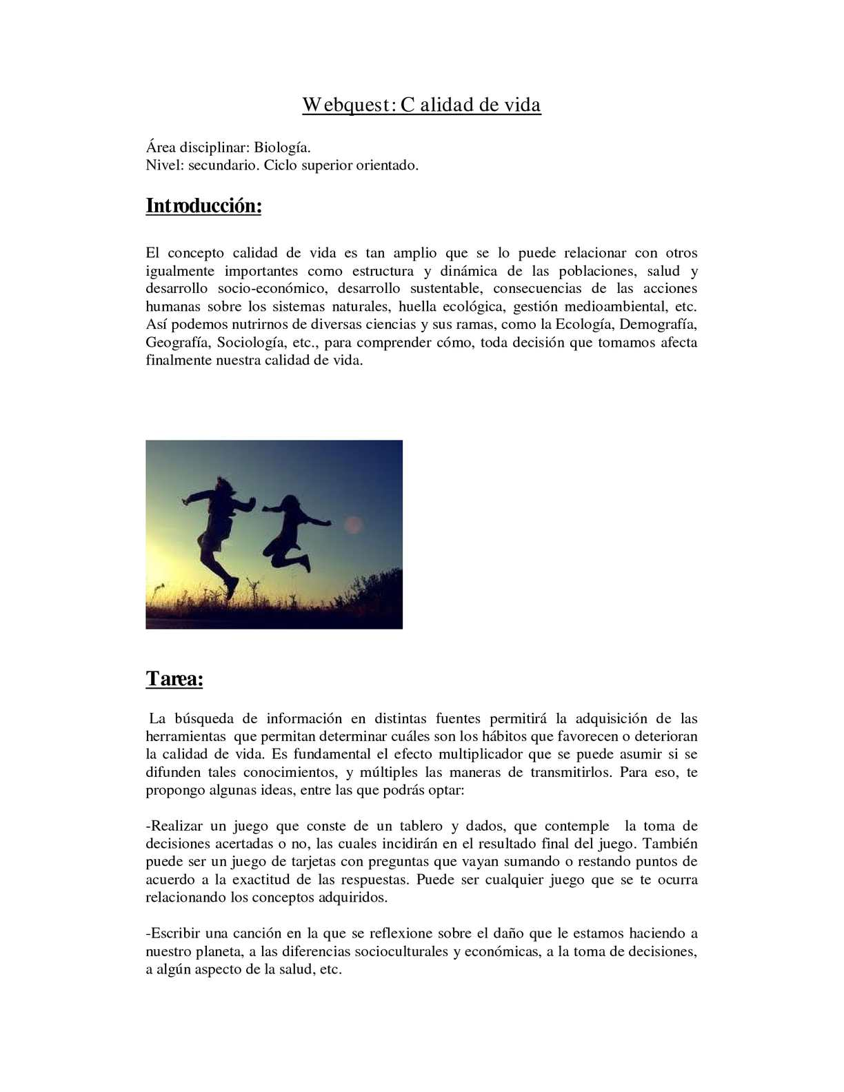 Calaméo Webquest Calidad De Vida Claudia Molet