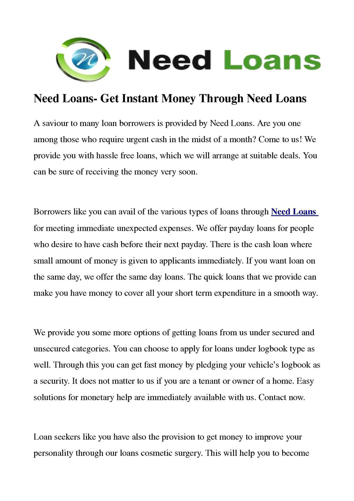 Calaméo - Need Loans- Get Instant Money Through Need Loans