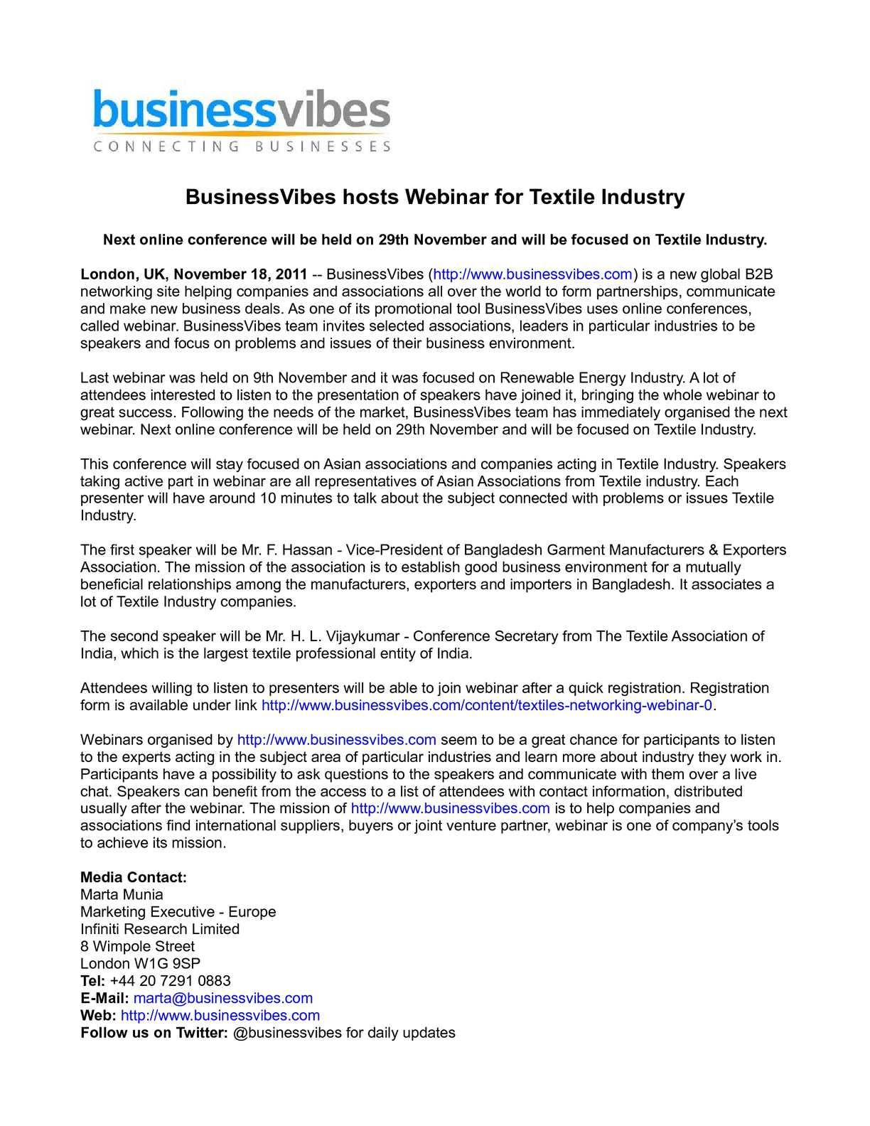 Calaméo - BusinessVibes hosts Webinar for Textile Industry