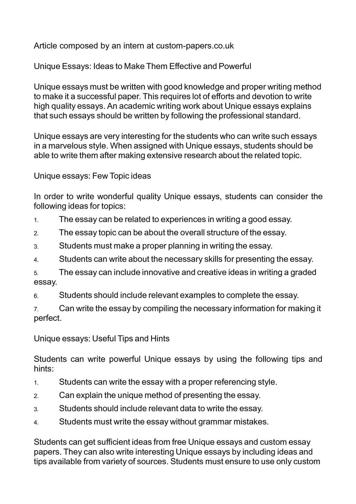 Help start college essays