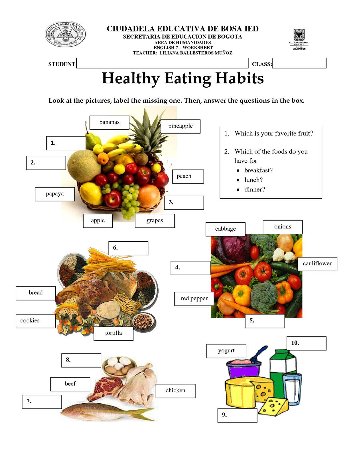 Calameo Worksheet Healthy Eating Habits