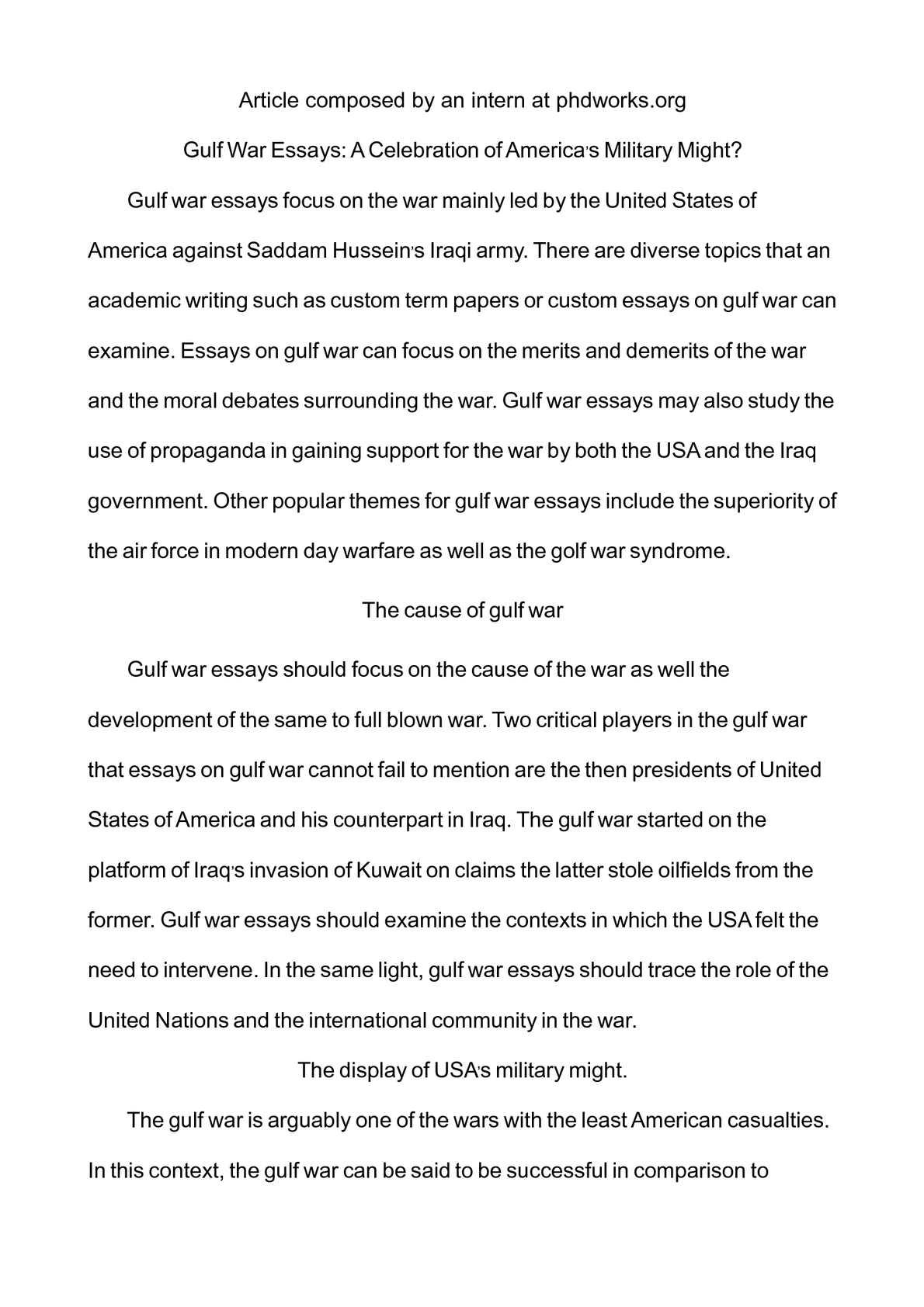 gulf war articles