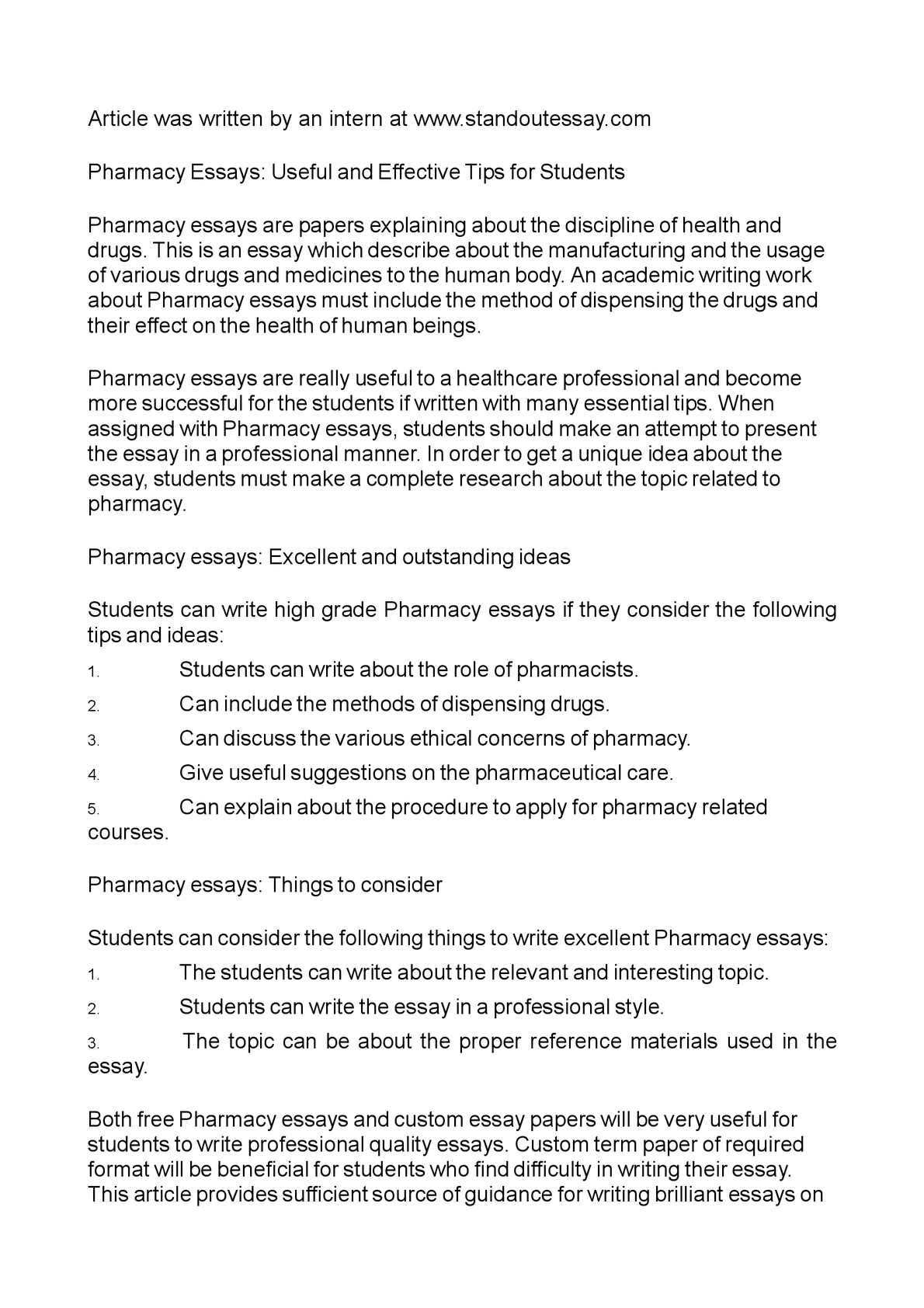 future of pharmacy essay