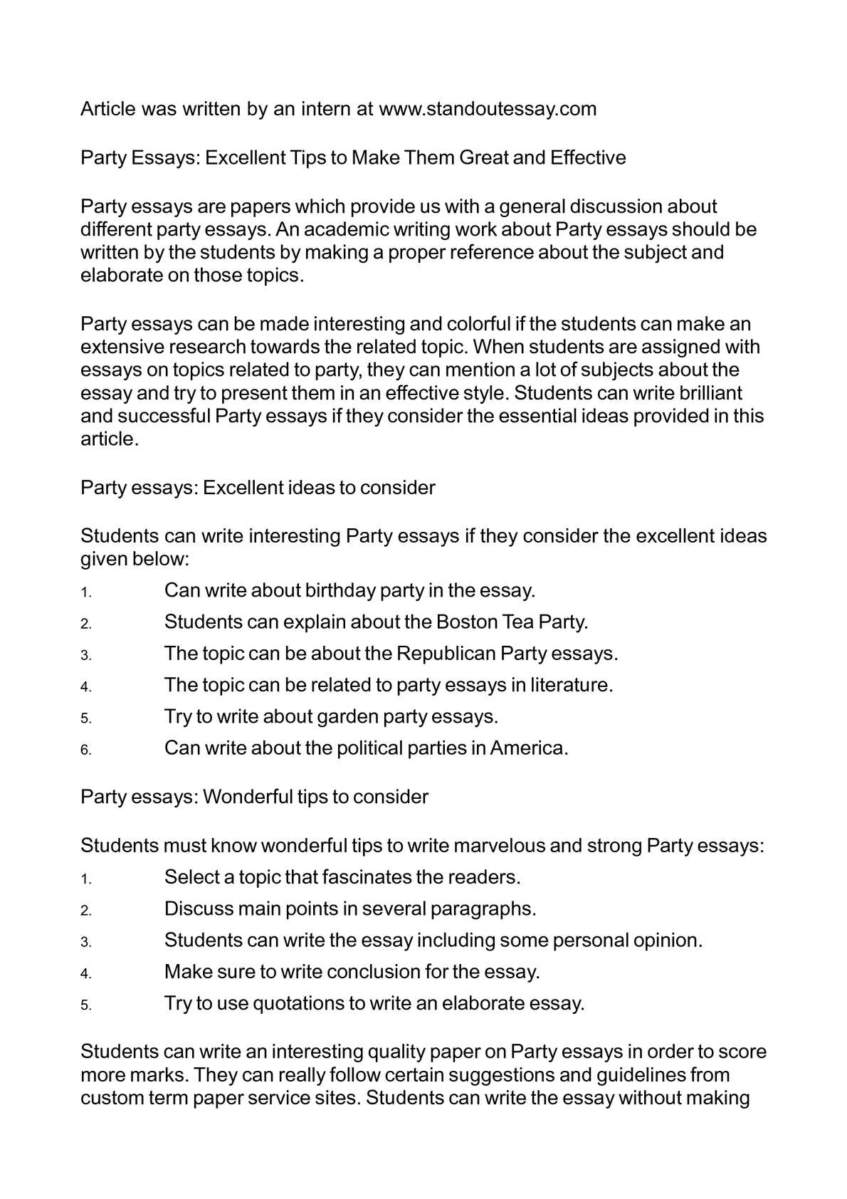essay on political parties in america